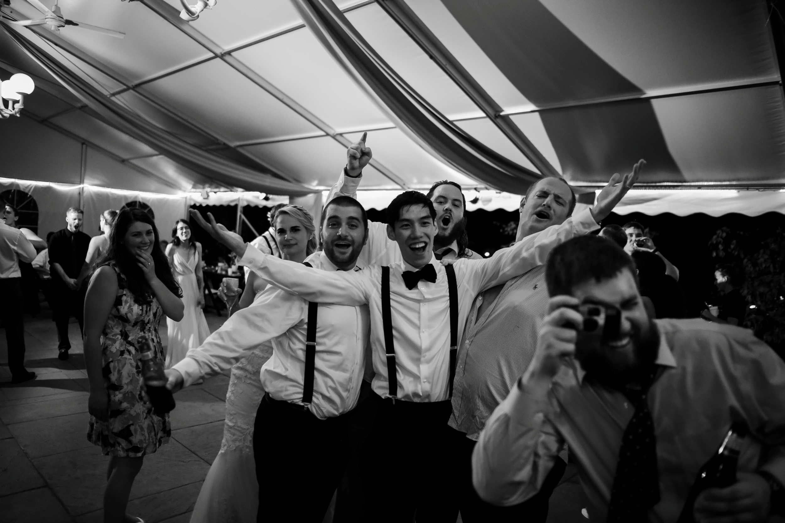 black and white reception photos bride and groom