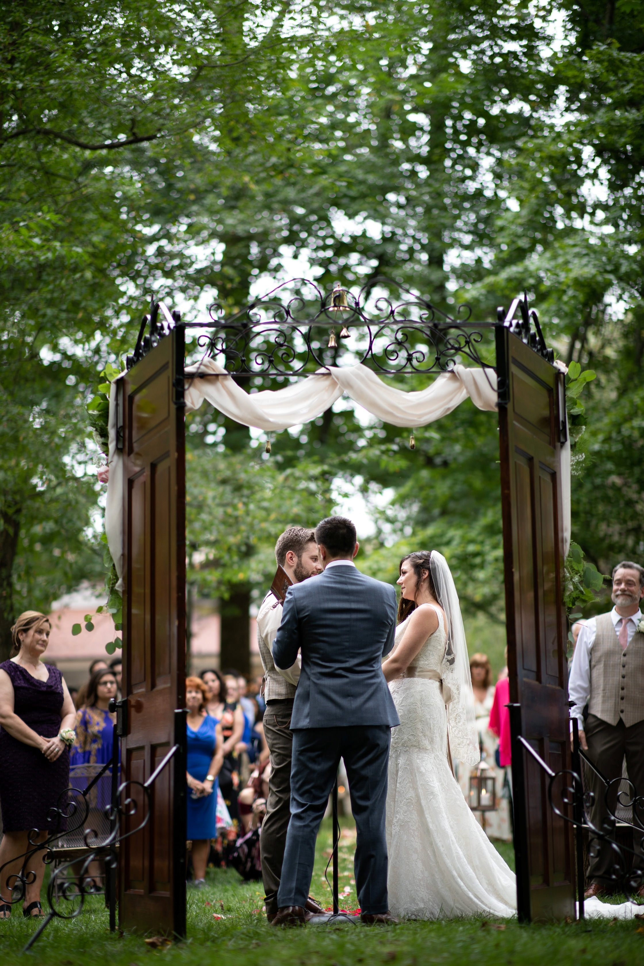 outdoors backyard wedding ceremony