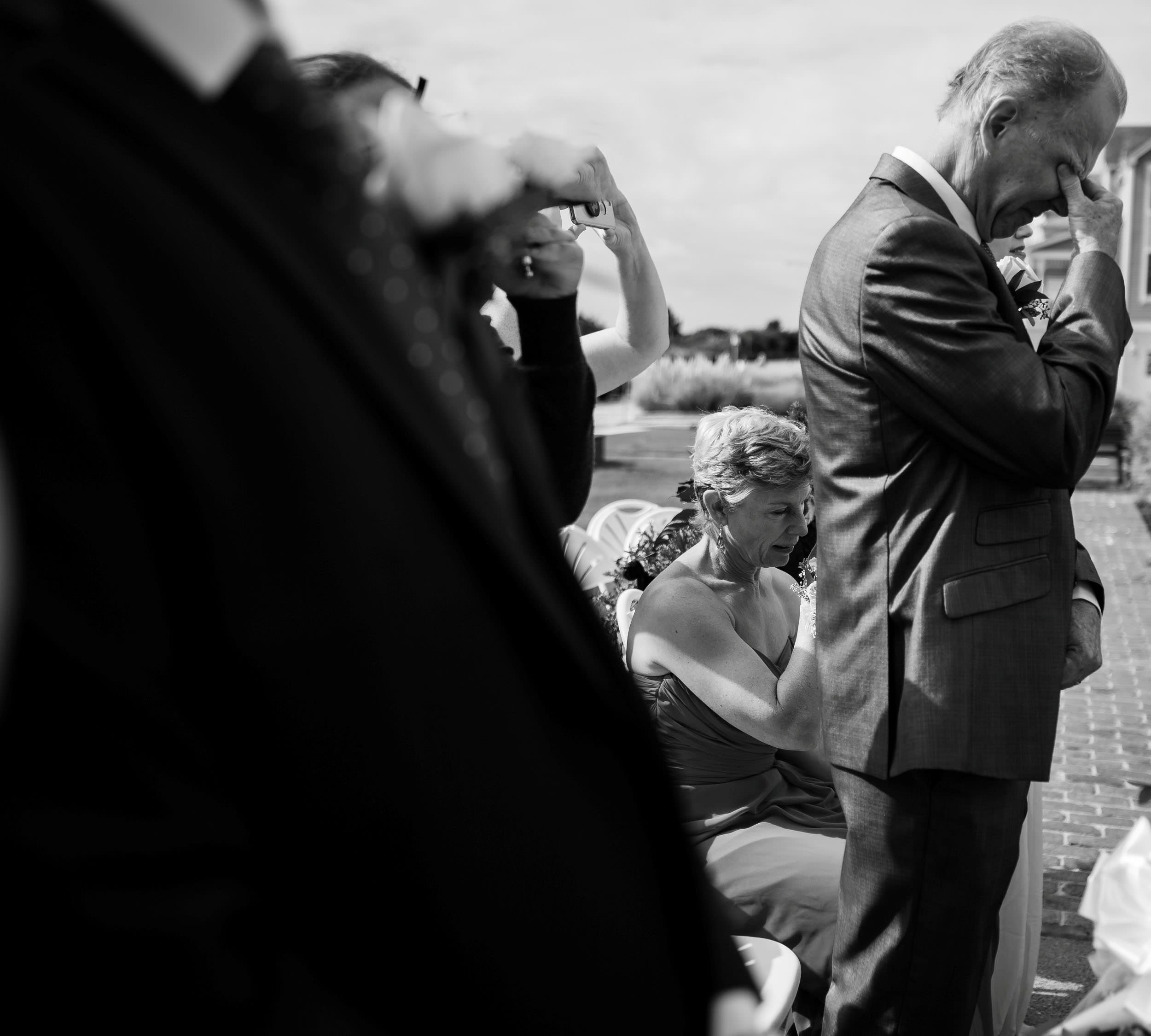 emotional black and white wedding photo
