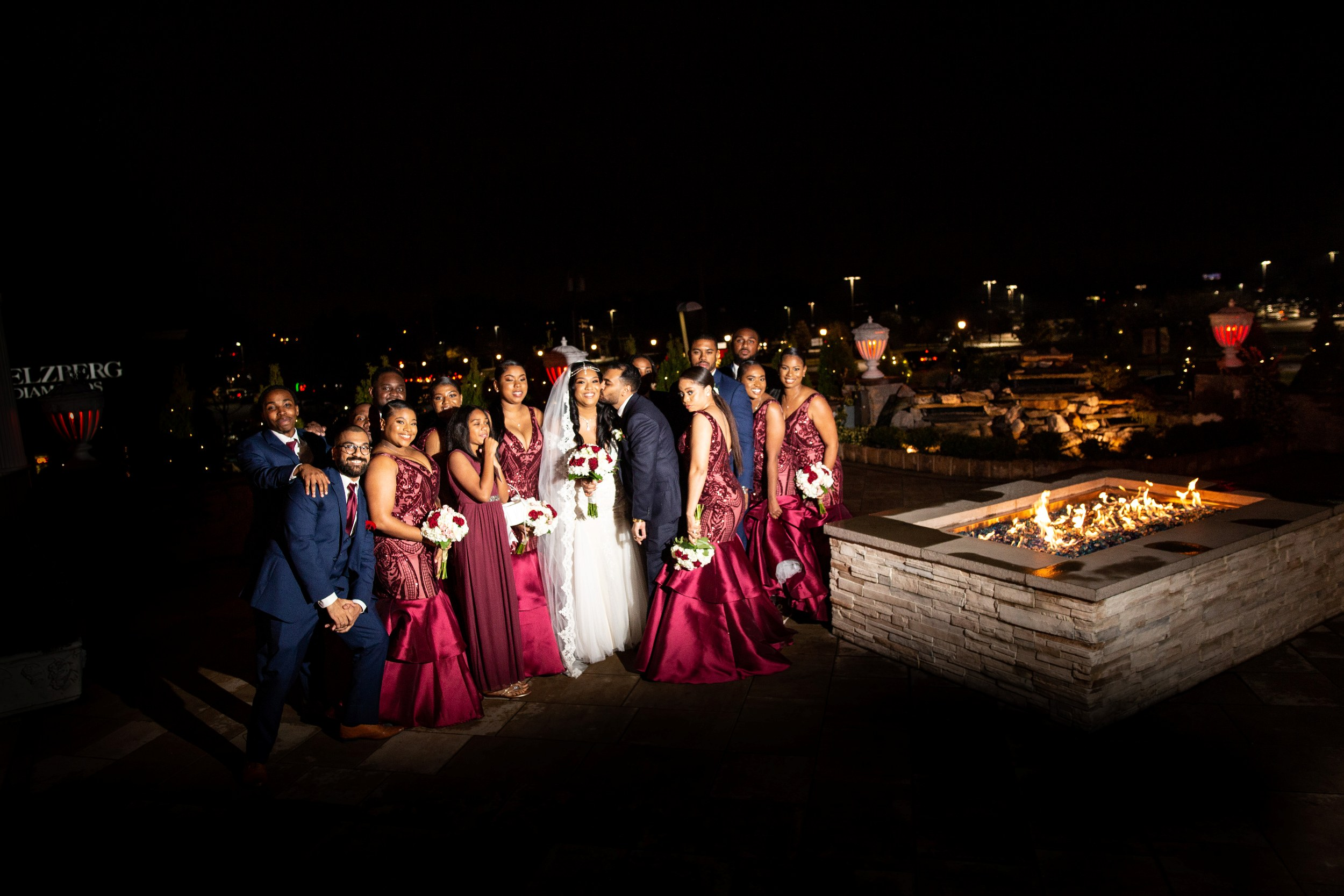 large bridal party photo patio of Adelphia wedding venue