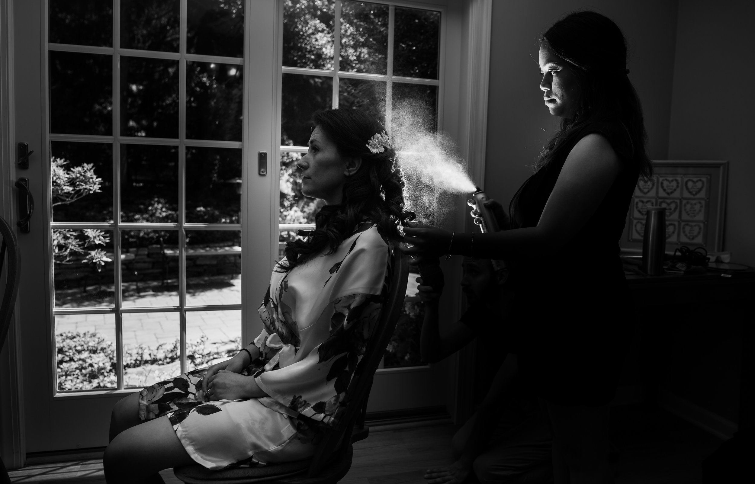 bride getting ready before ceremony