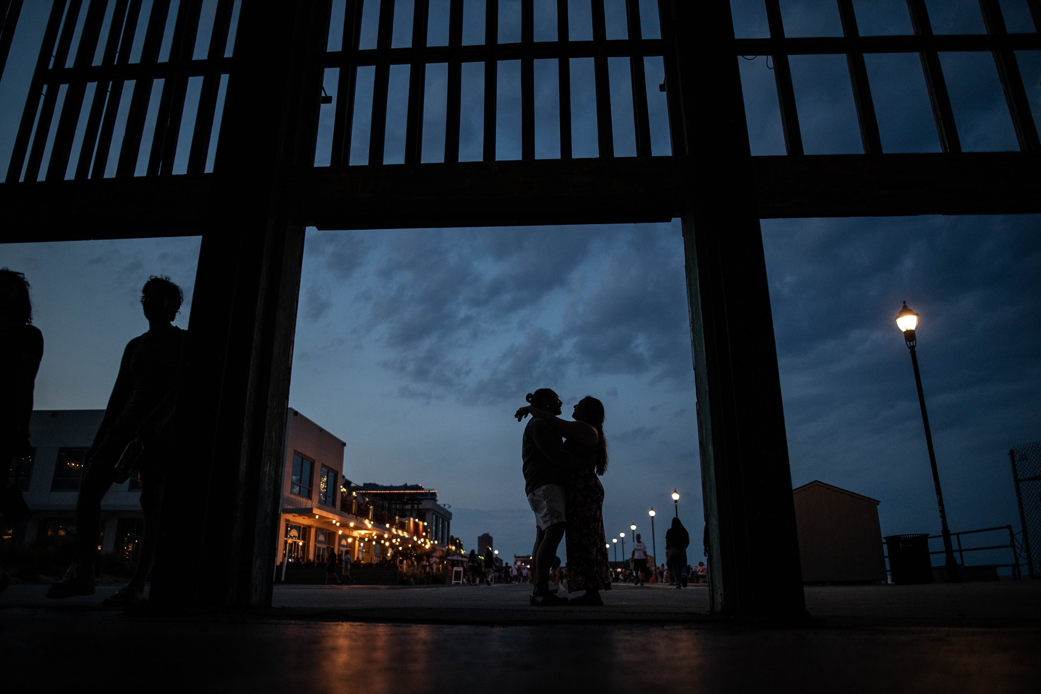 sunset engagement session asbury park boardwalk inna ovsepian photography