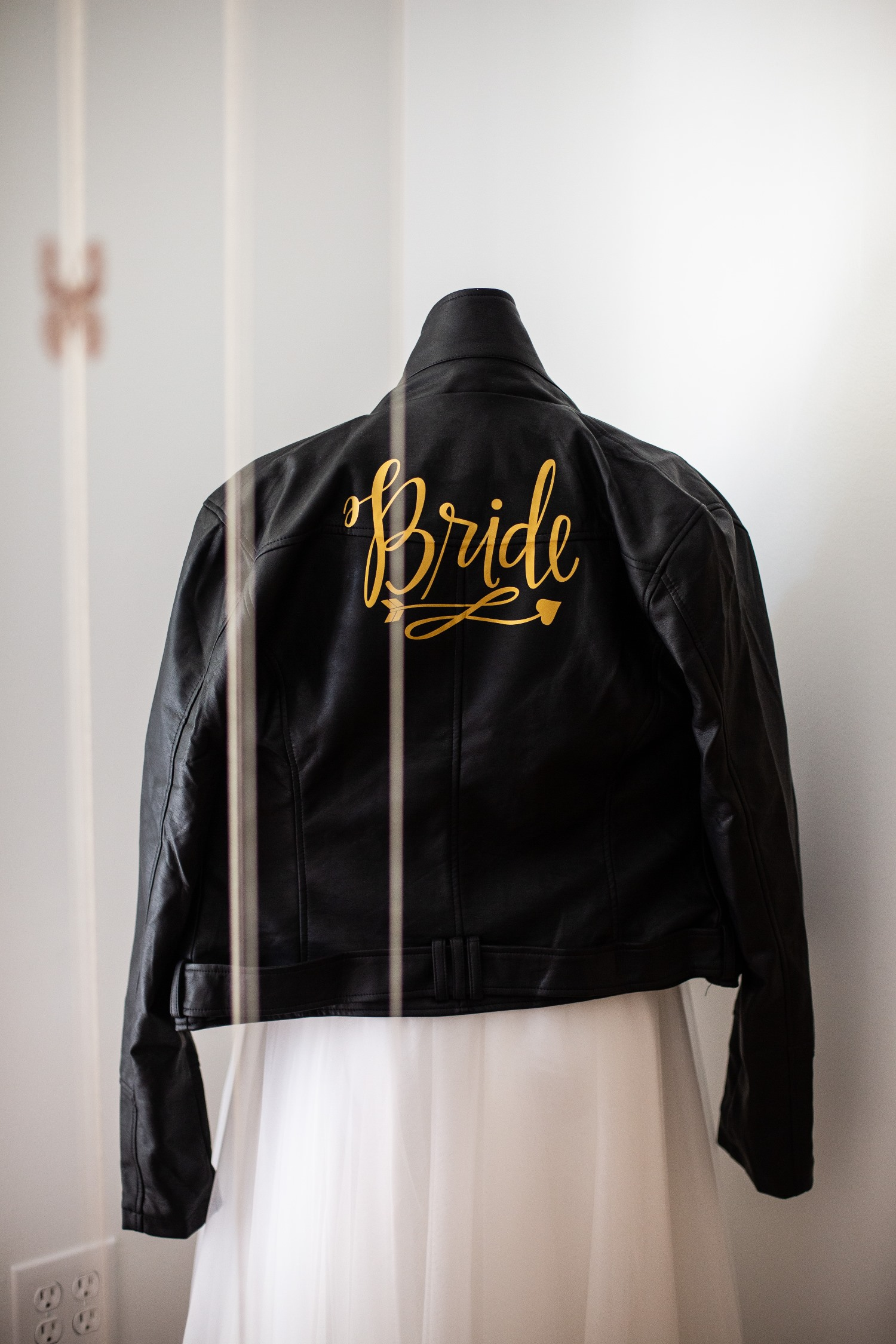 black leather bride's jacket