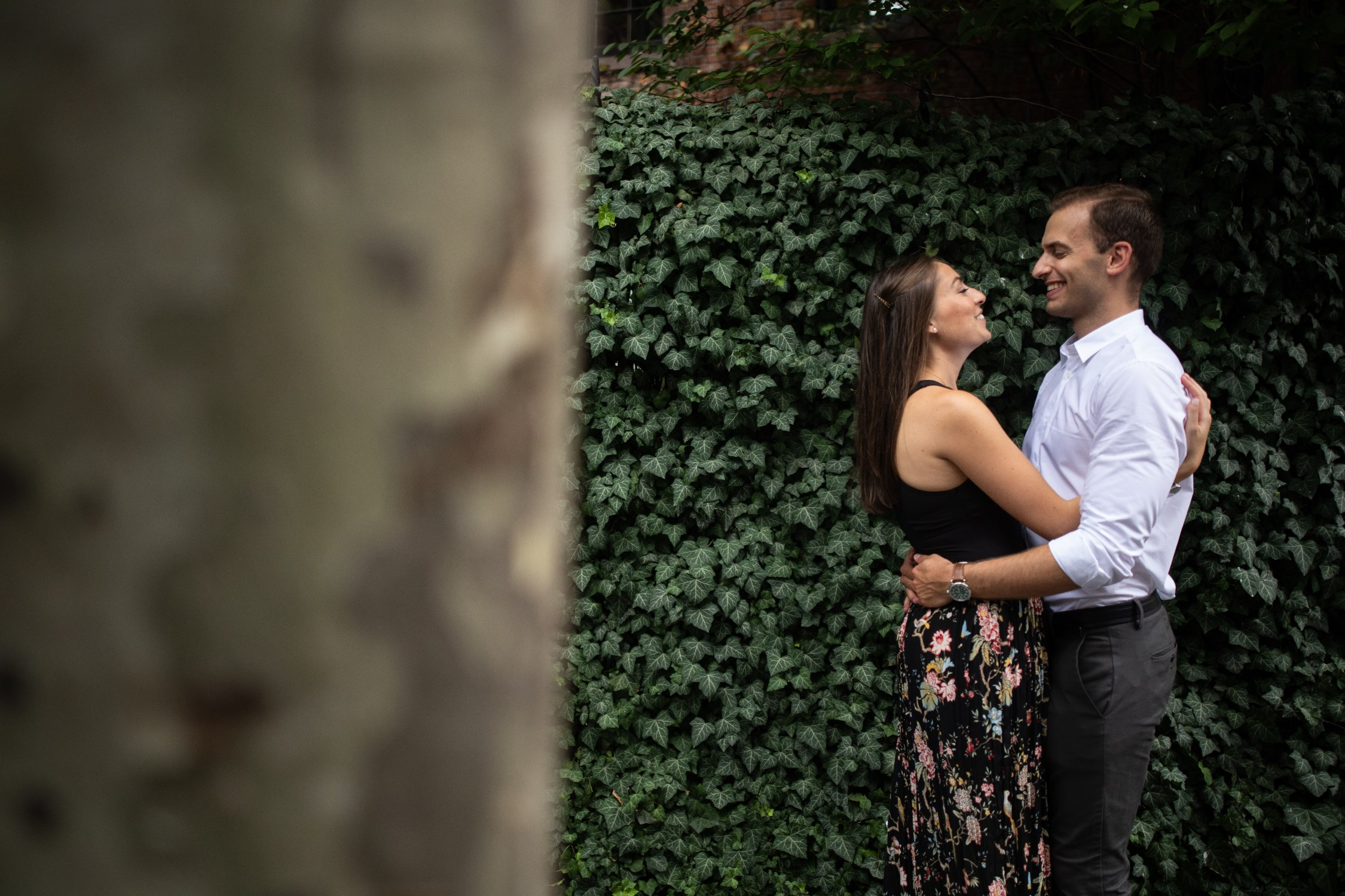 west village nyc engagement photos ivy wall