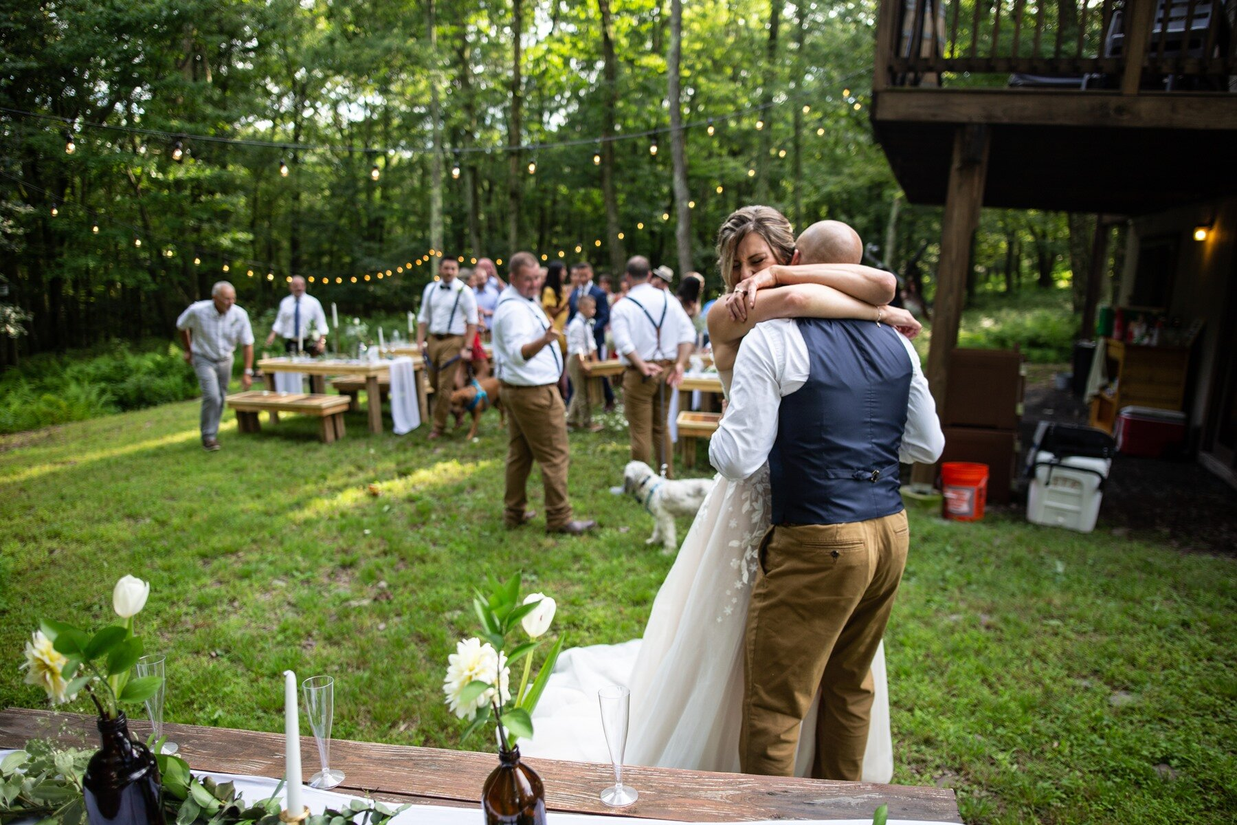 first kiss after ceremony in the mountains