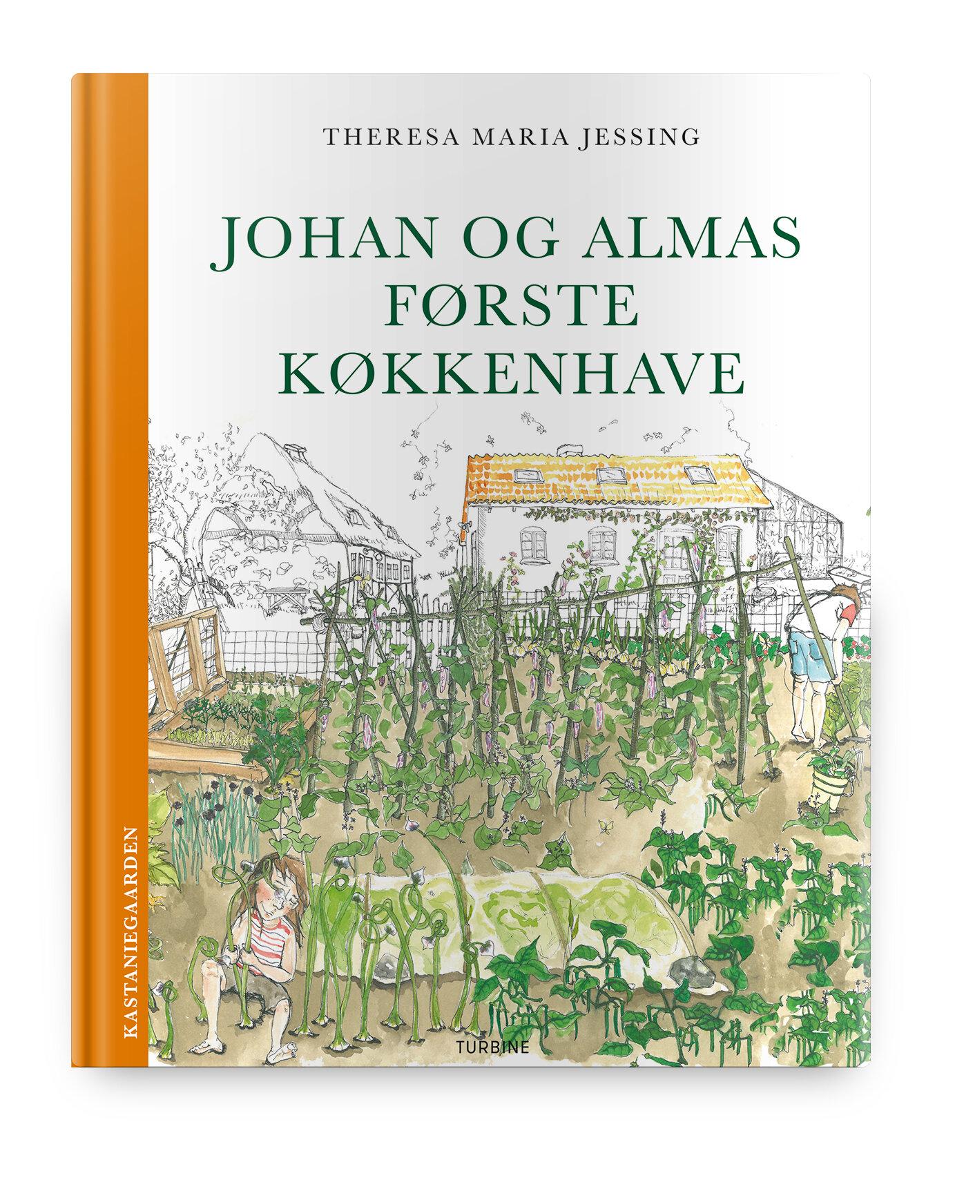 `Johan og Almas første køkkenhave´, en praktisk fortælling, der gør det muligt at overføre informationerne fra fortællingen til din egen havedyrkning. En børnebog om at så, dyrke, passe og høste fra køkkenhaven, skrevet og illustreret af Theresa Jessing, udgivet af forlaget Turbine i 2018.