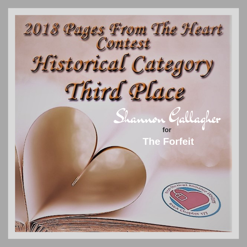 The Forfeit finishes 3rd!  So pleased to have two manuscripts place in the same contest! Double finalist with Every Time You're Near (which took 1st place)