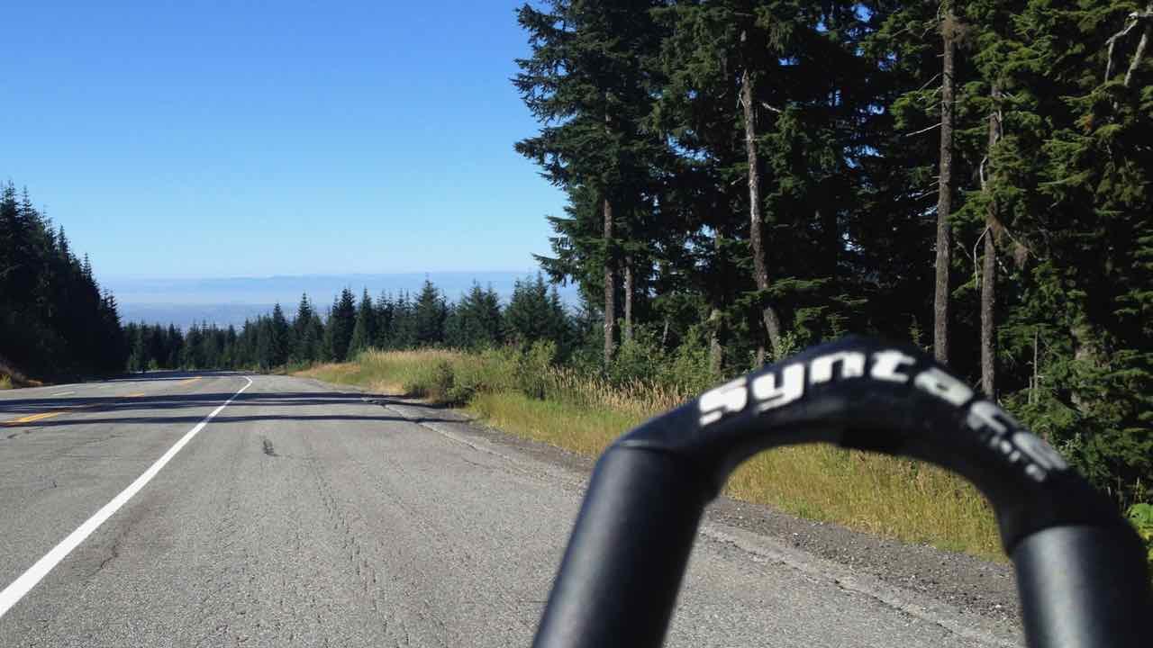 Ready to bike down... 1 hour 10 uphill = 5 min downhill...