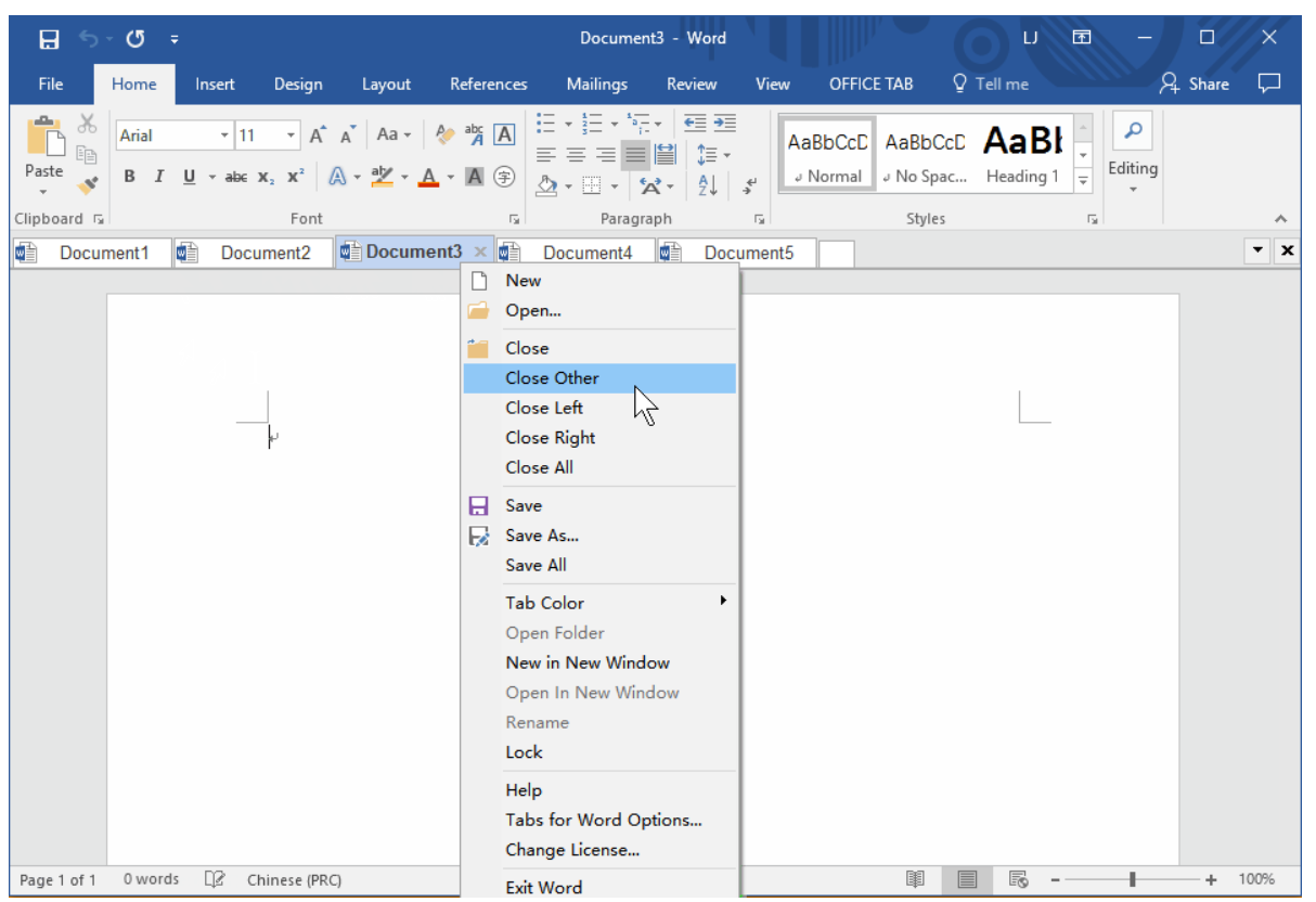 Set up all your Word docs as tabs - with the power to control each from the tab