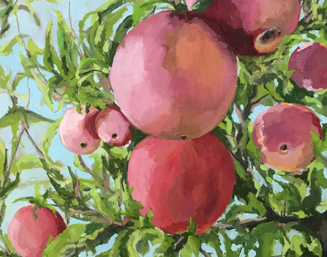 Pie in the Sky, 24x30; commissioned to celebrate a childhood memory of the family apple orchard