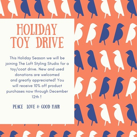 It's Holiday season birdies and who doesn't love 10% off a product ?! Help us donate coats and toys this holiday season ✨  #peacelovegoodhair