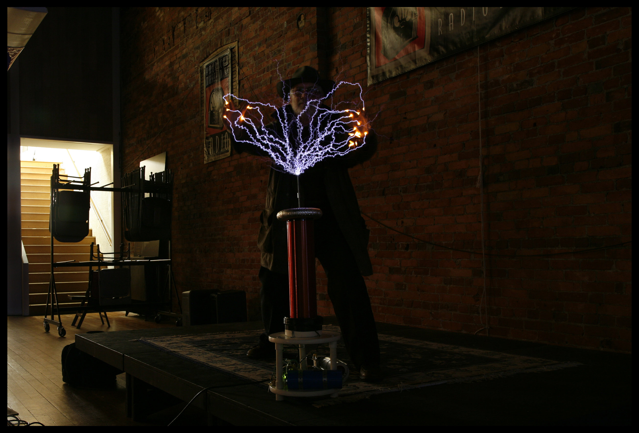 Jonathan Winter with Tesla Coil, American Museum of Radio and Electricity, Bellingham, WA, 2007