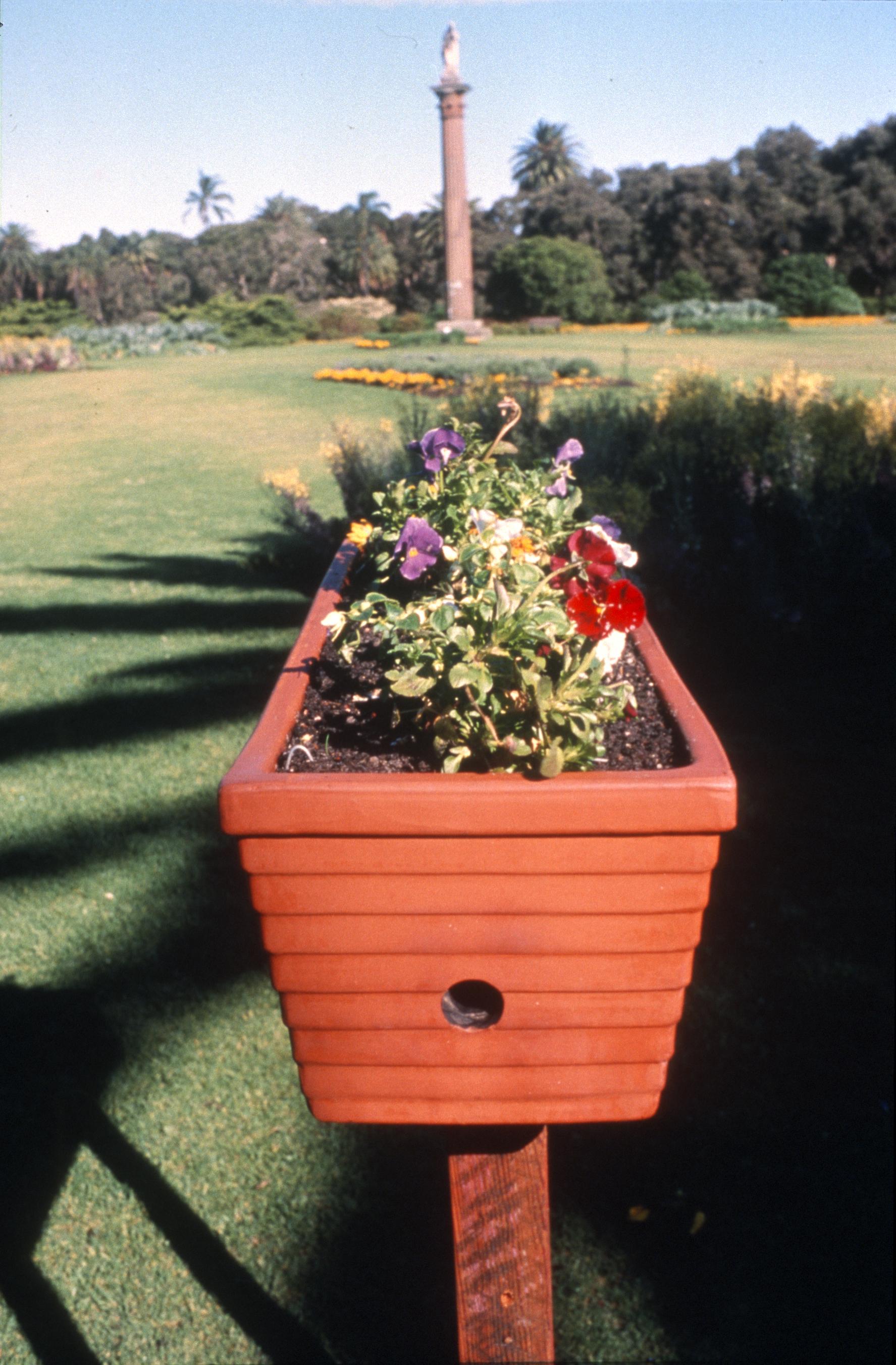 Floral Views , 1995  Terracotta flowerpot, glass  Artful Park II, Centennial Park, Sydney, Australia.