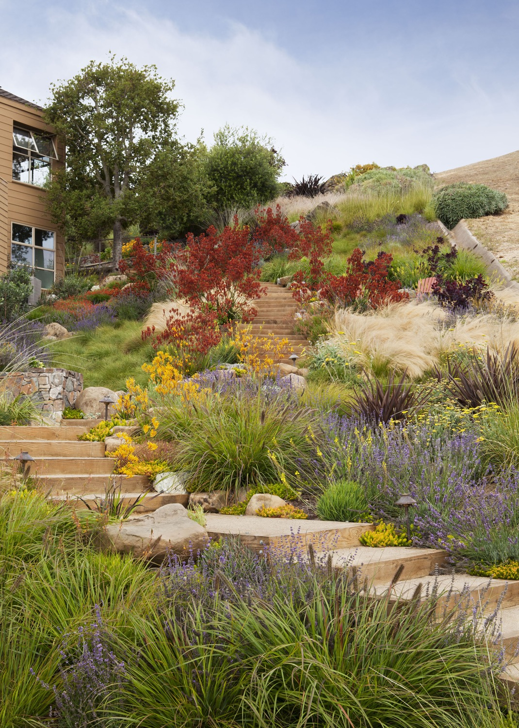 The staircase, seating area and plantings create an enjoyable garden from an unusable, steep slope.