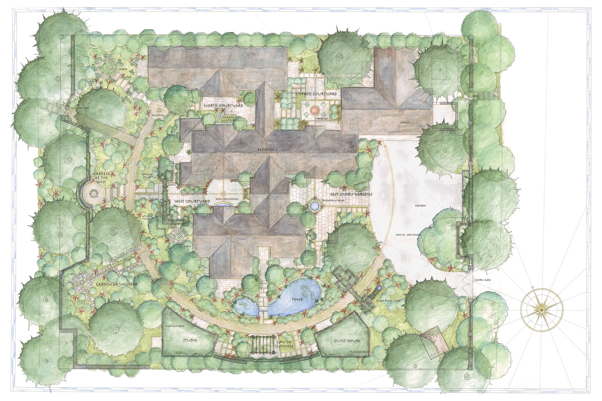 The master plan shows the circular path that organizes the spaces throughout the landscape.
