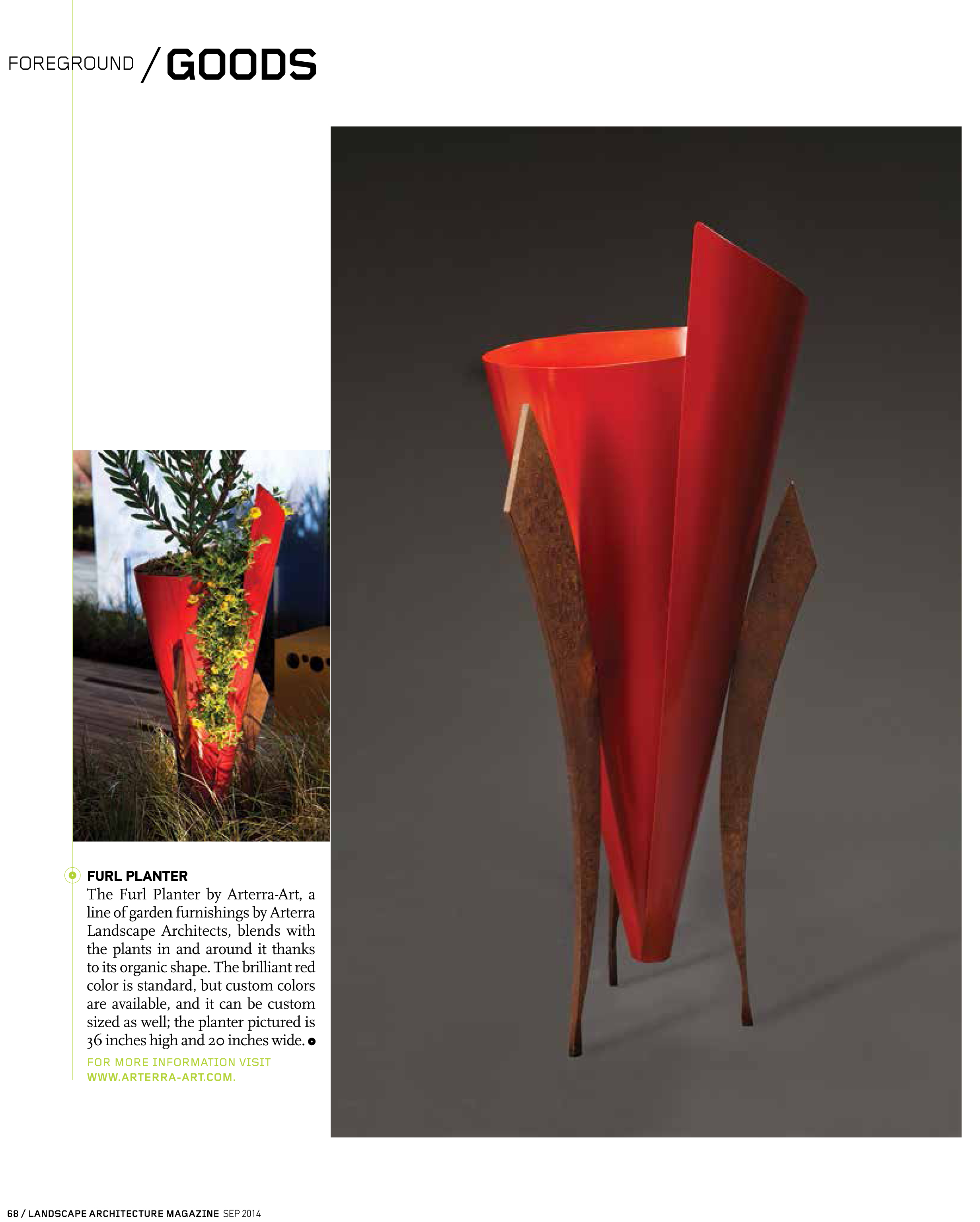 Landscape Architecture Magazine features the Furl, by Arterra-Art, a bright red powder-coated steel and corten sculpture.