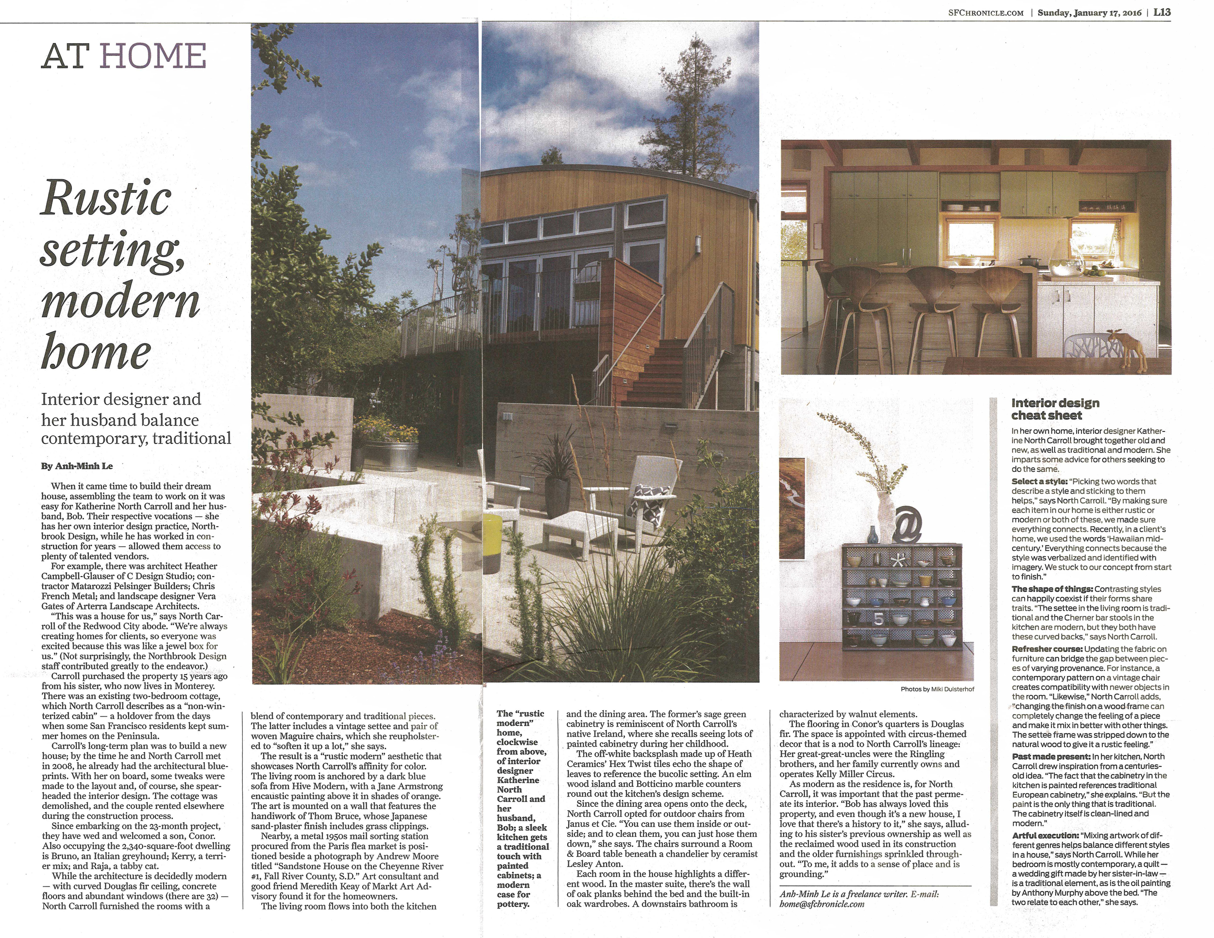 A seating area Arterra designed for the home of Katherine North Carroll is featured in the Chronicle.