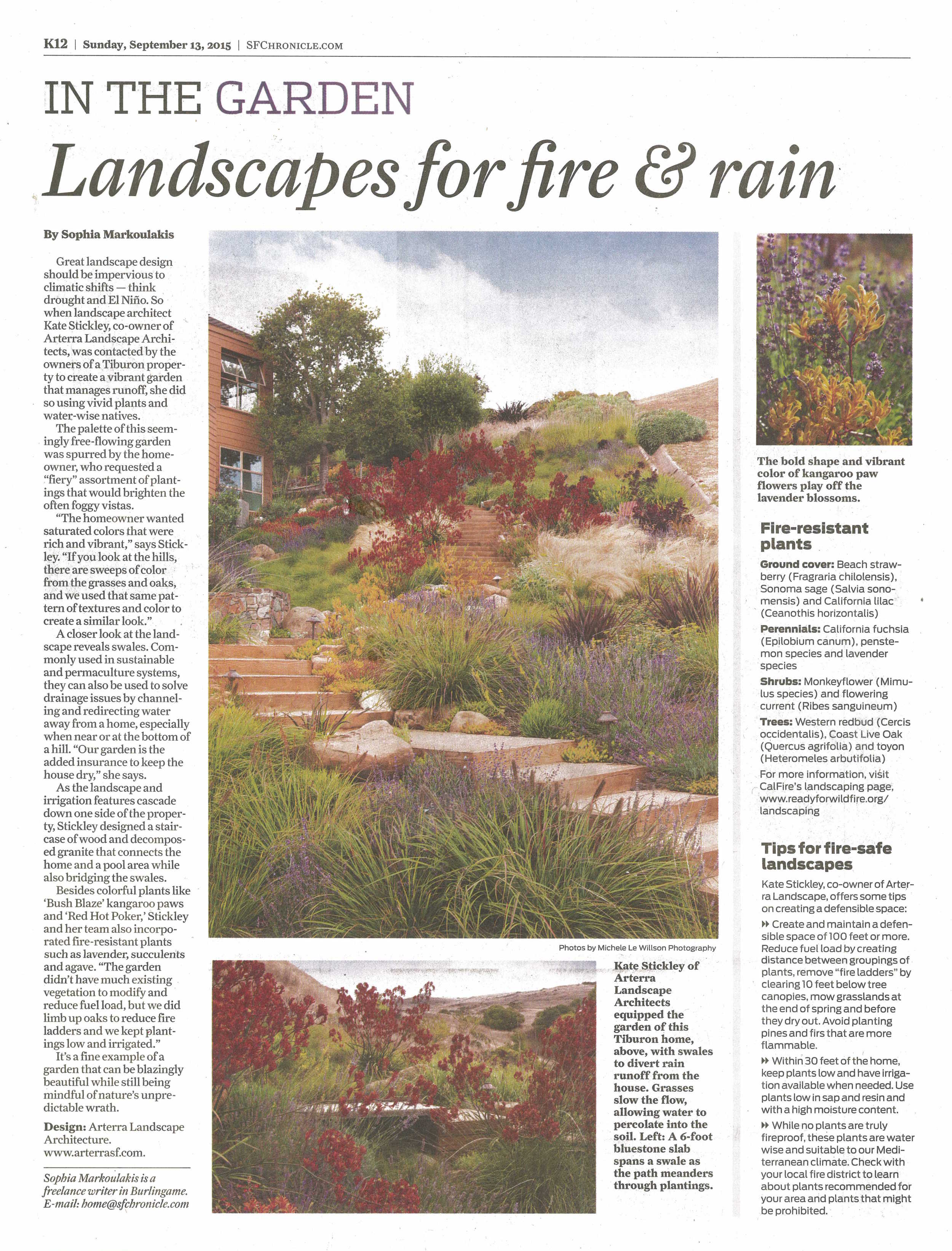 Arterra's project the Painterly Approach is featured for its drought and fire resistant plantings and design.