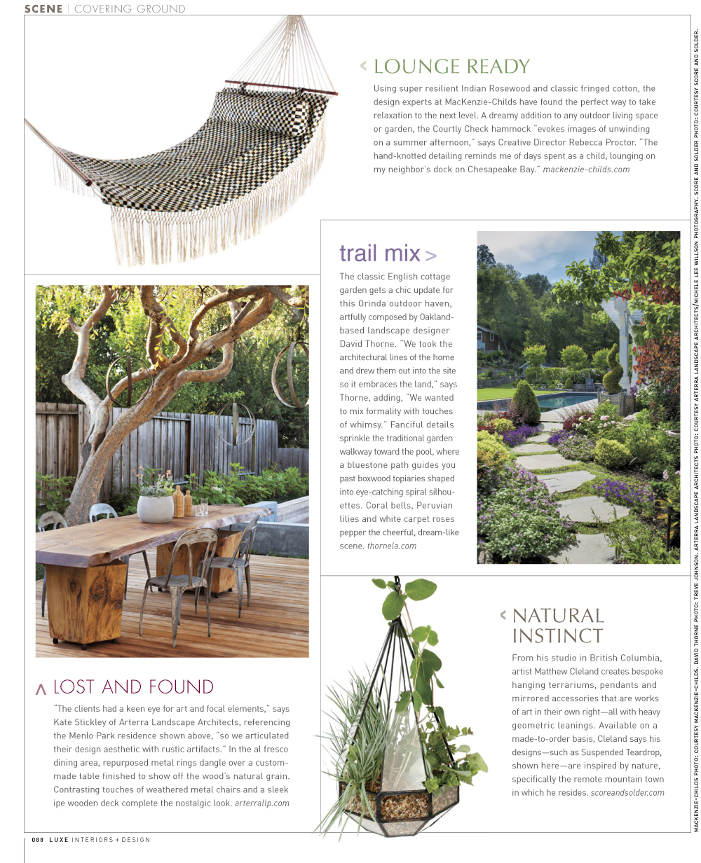 Luxe Magazine features a wood dining table crafted by a local artisan from Arterra's project The Gathering Table.