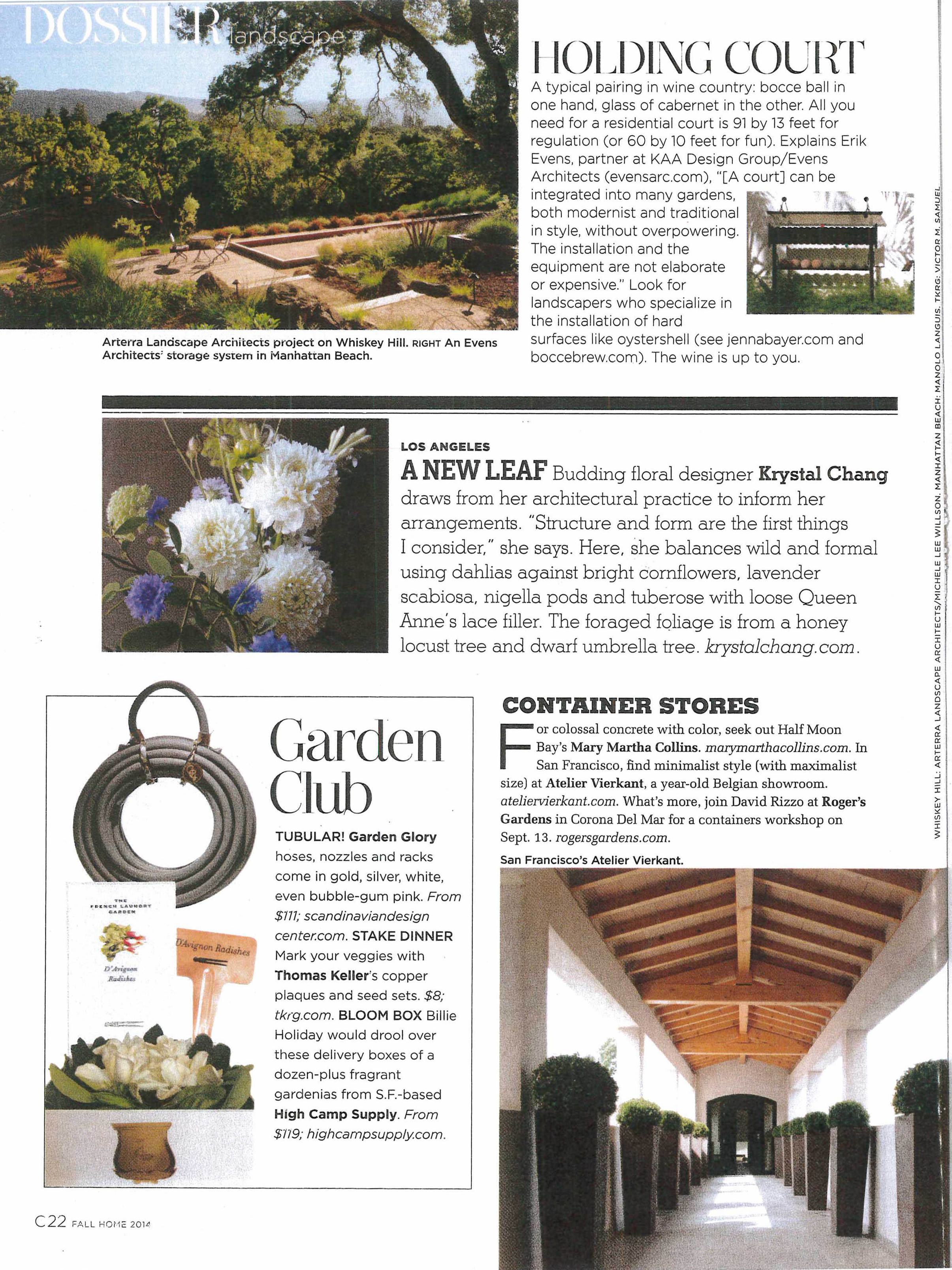 C Home magazine included a photo from Whiskey Hill in their feature of bocce courts.