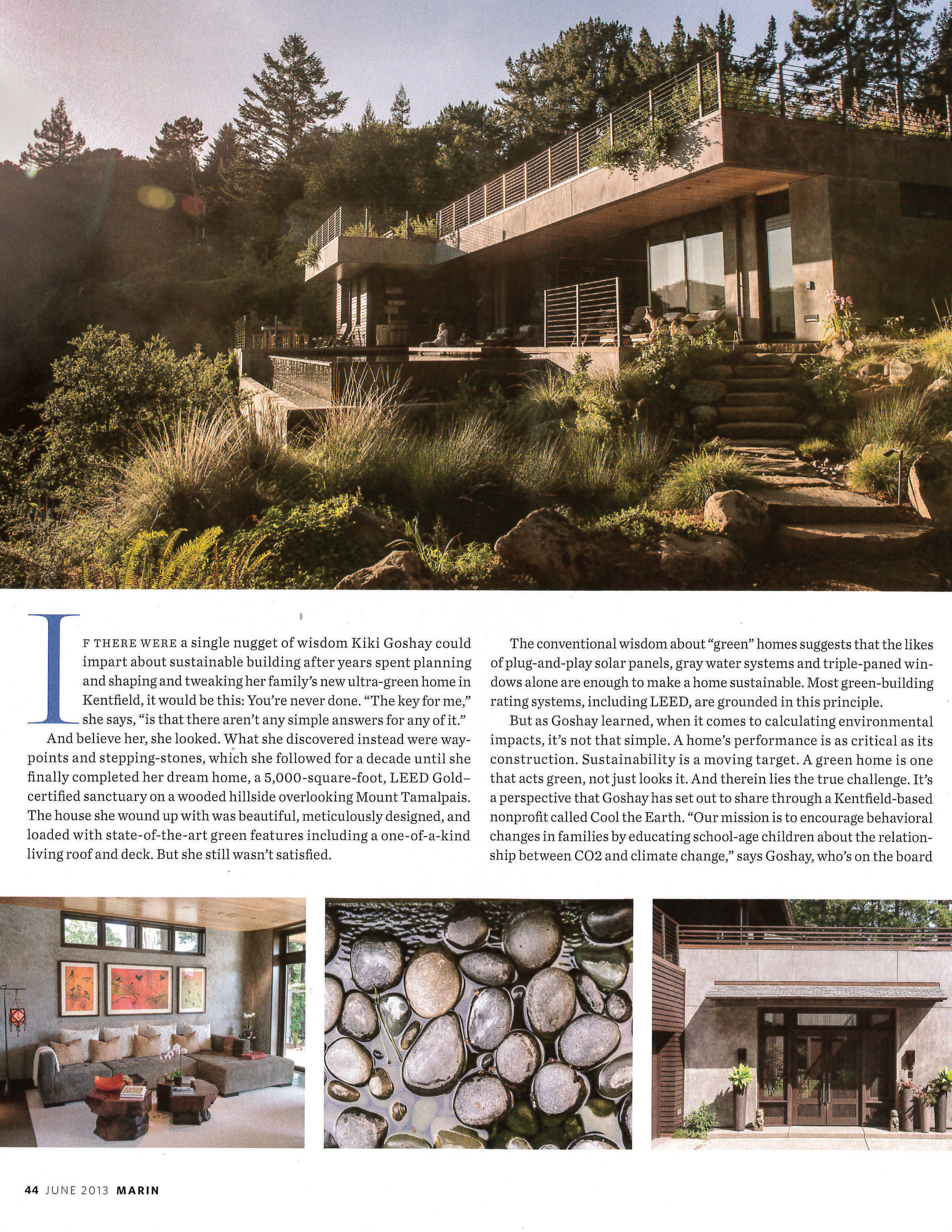 The pool, home and 2000 square foot living roof are show with text from the article.