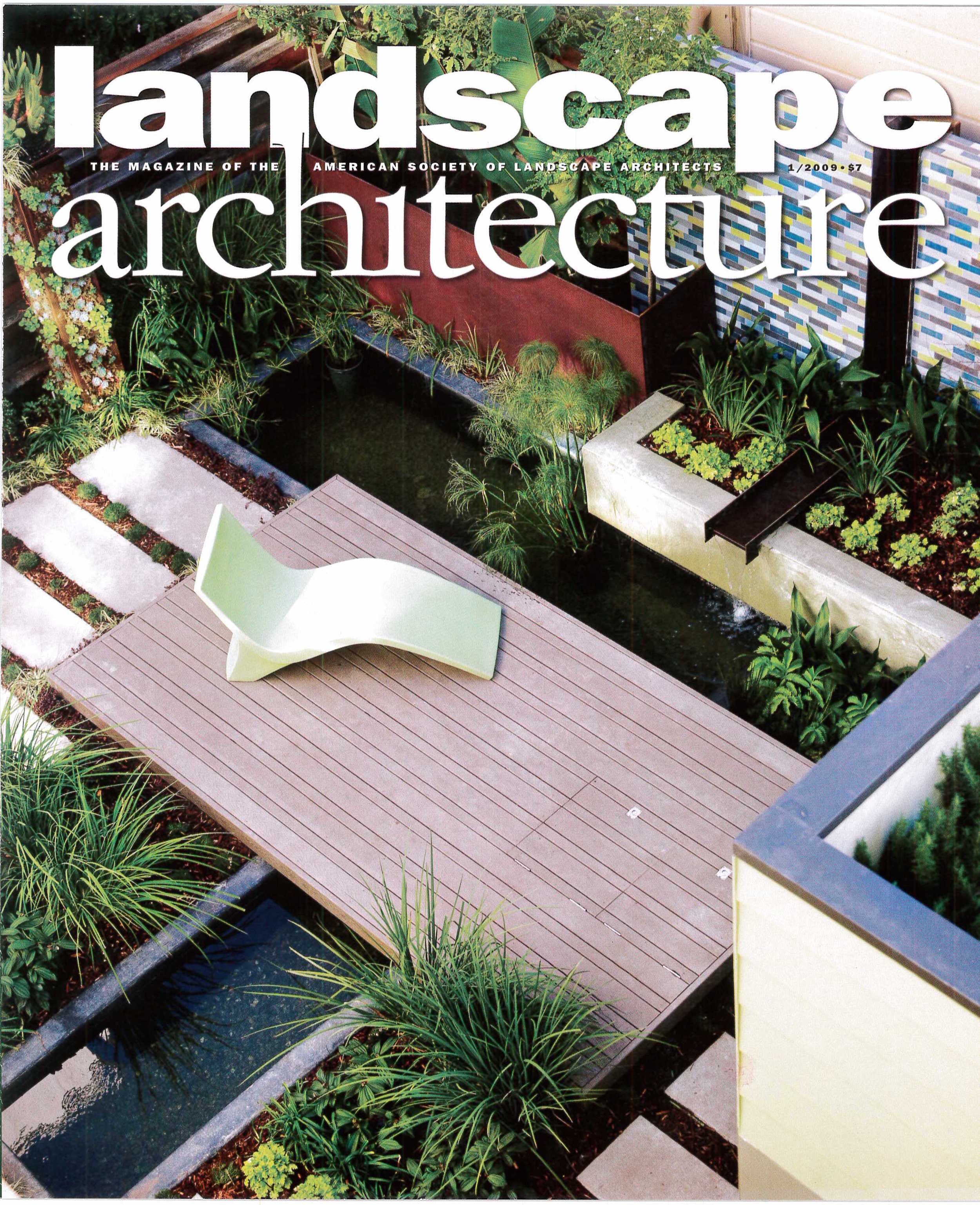 Five spreads of Landscape Architecture Magazine feature the Sunset Idea House, including a Heath tile and corten fountain.