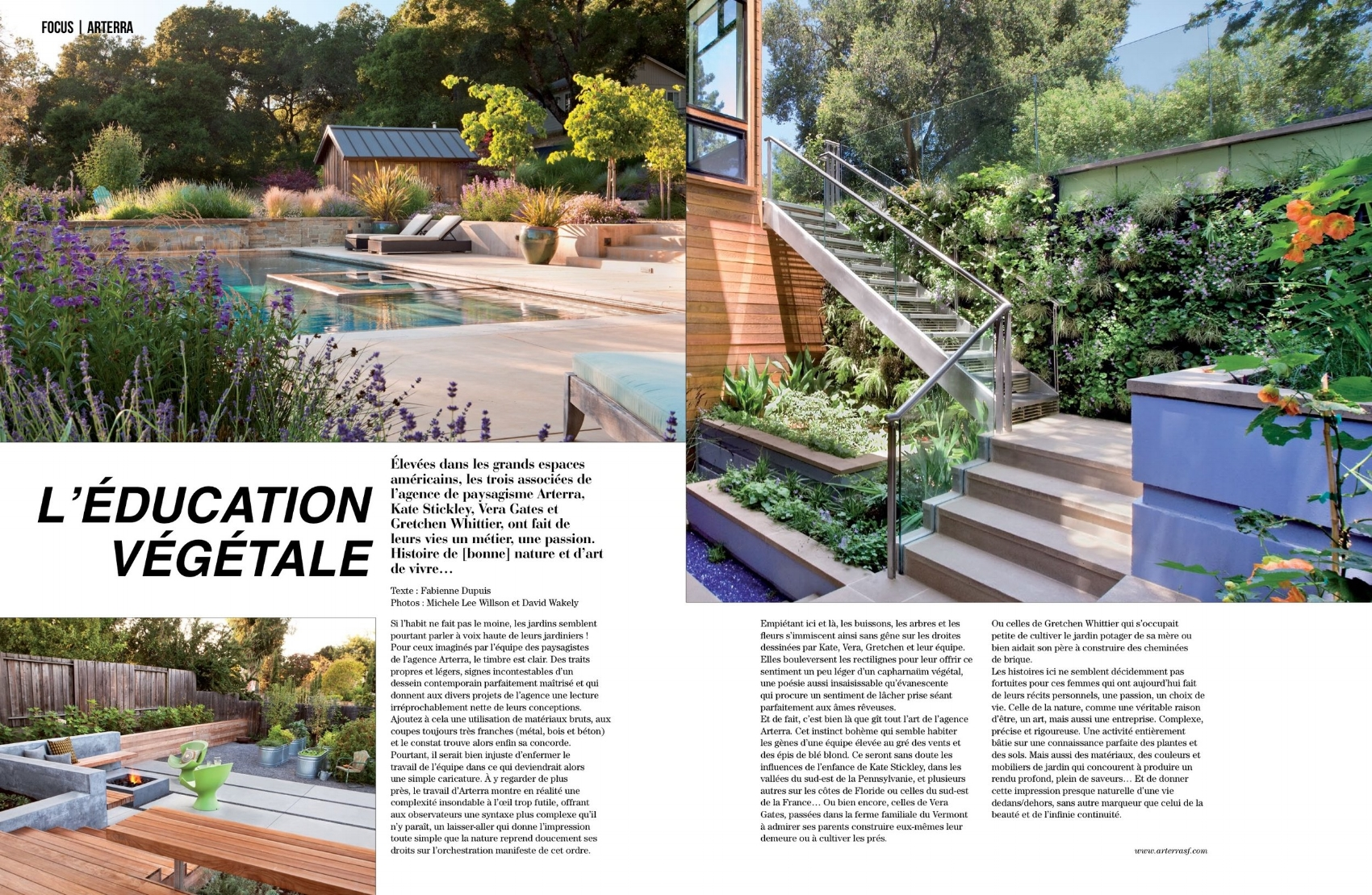 Magazine spread showing a pool, light well with living wall and production garden, with text about the studio in French