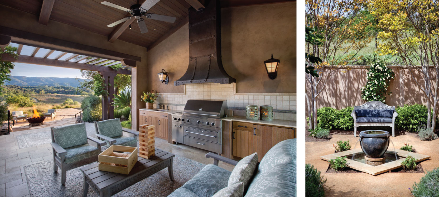The indoor-outdoor kitchen opens up to the firepit area.
