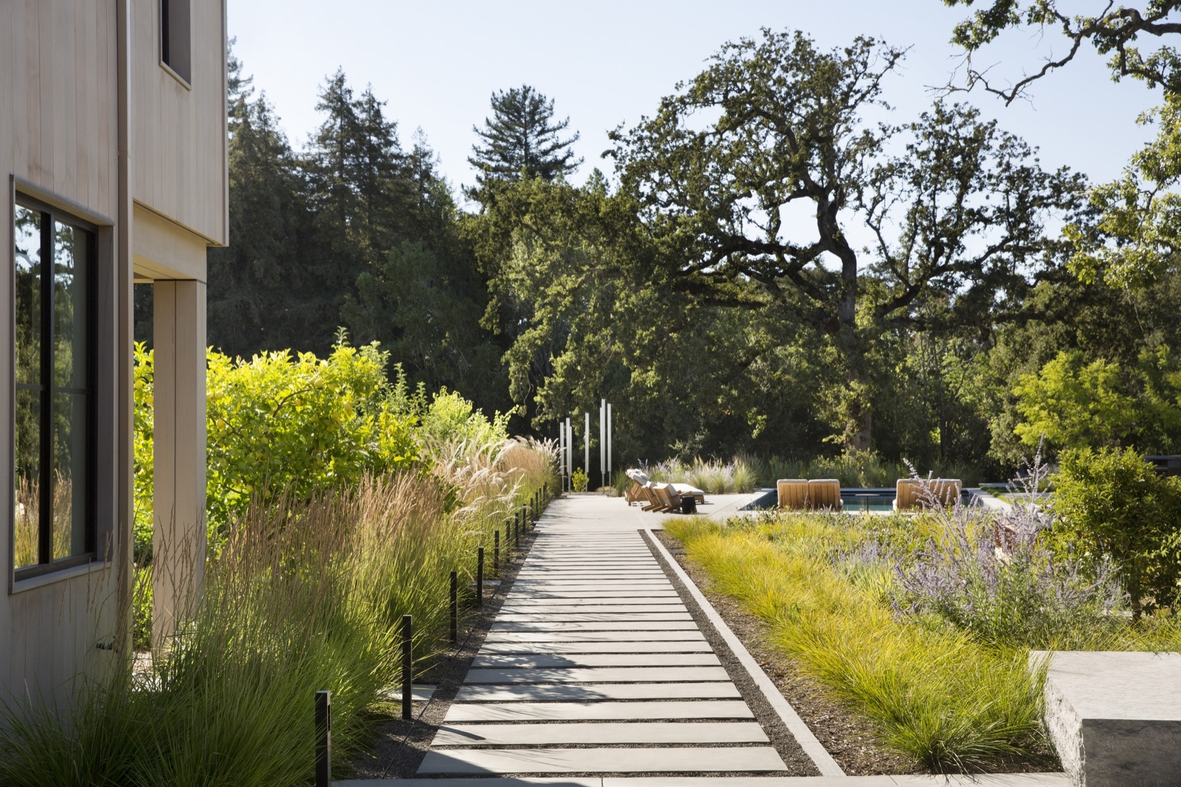 The fulcrum courtyard anchors the paths that radiate around the landscape. The sculpture in the distance can be used as musical chimes.