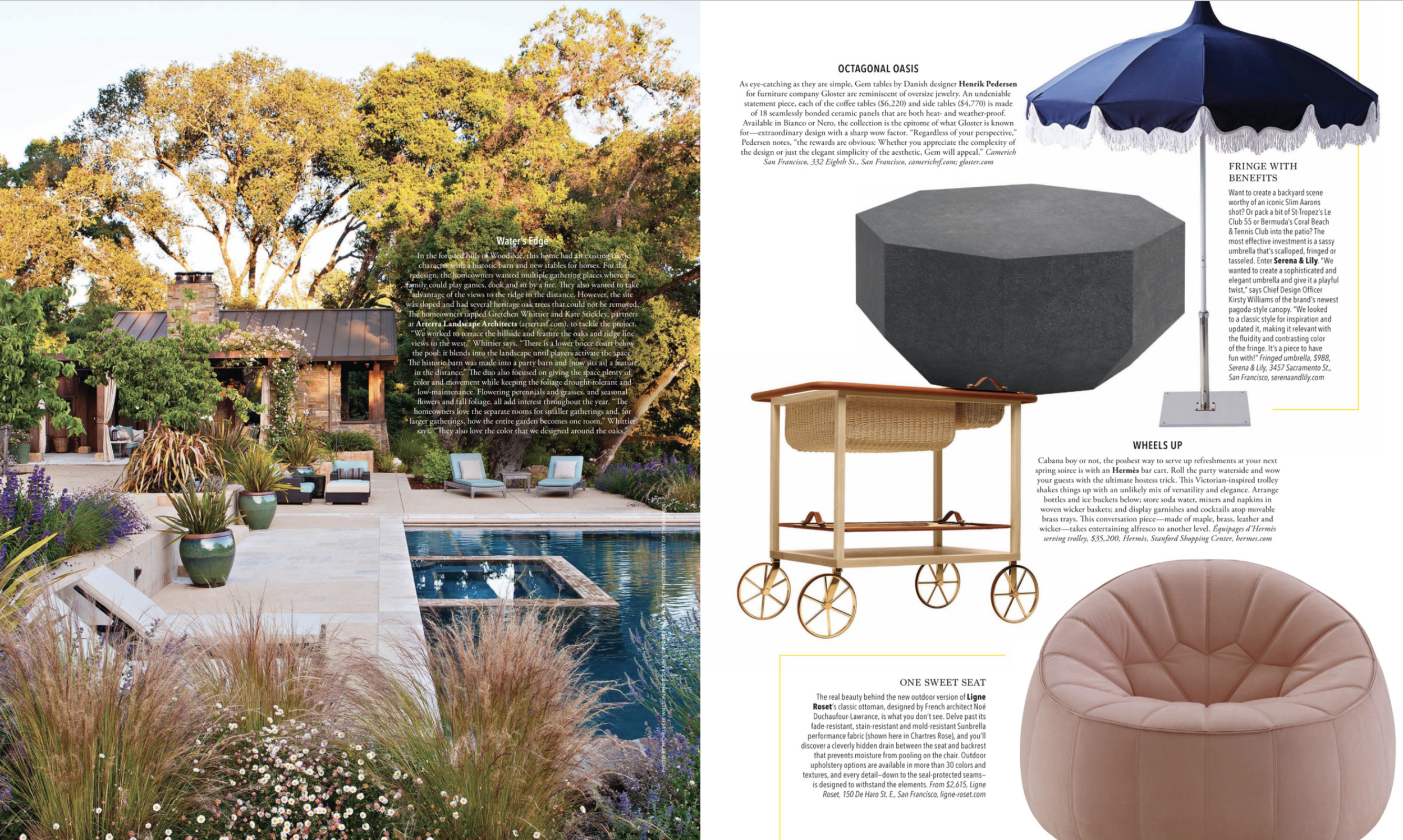 A magazine spread showing Arterra's project, Close to the Land, with a pool and native and low-water plantings.