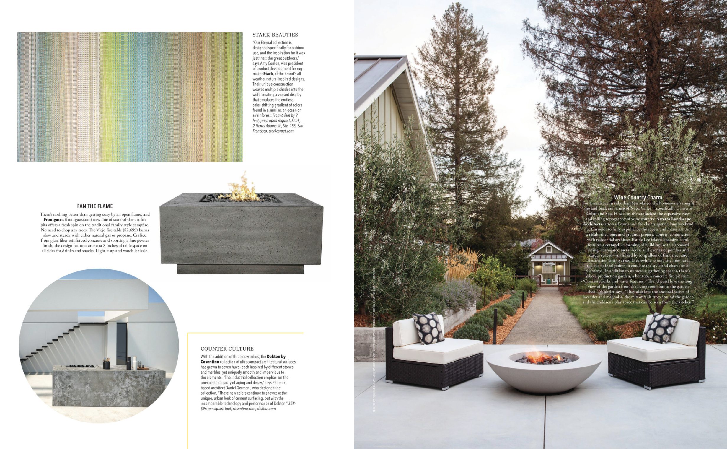 A magazine spread showing Arterra's project Talk of the Neighborhood, with a fireplace and seating area.