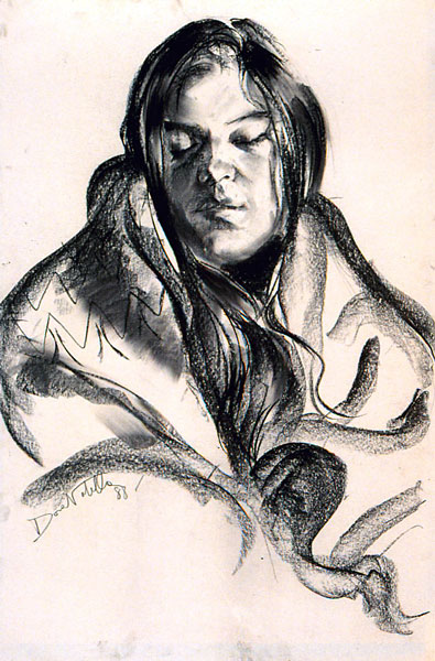 Mary  - 24 x 36in charcoal