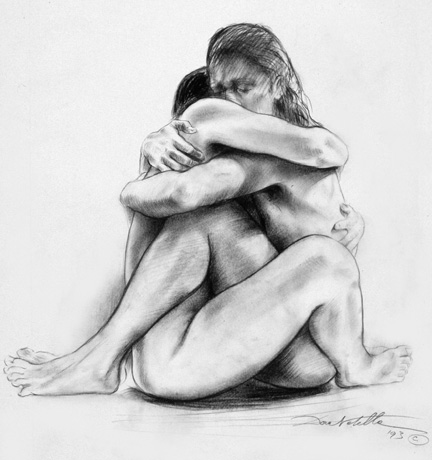 Embrace  - 18 x 24in. - charcoal
