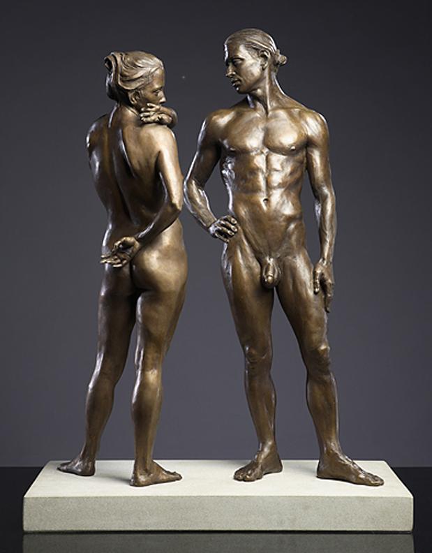 Shared Boundaries  -24 X 8 X 29 in cast bronze