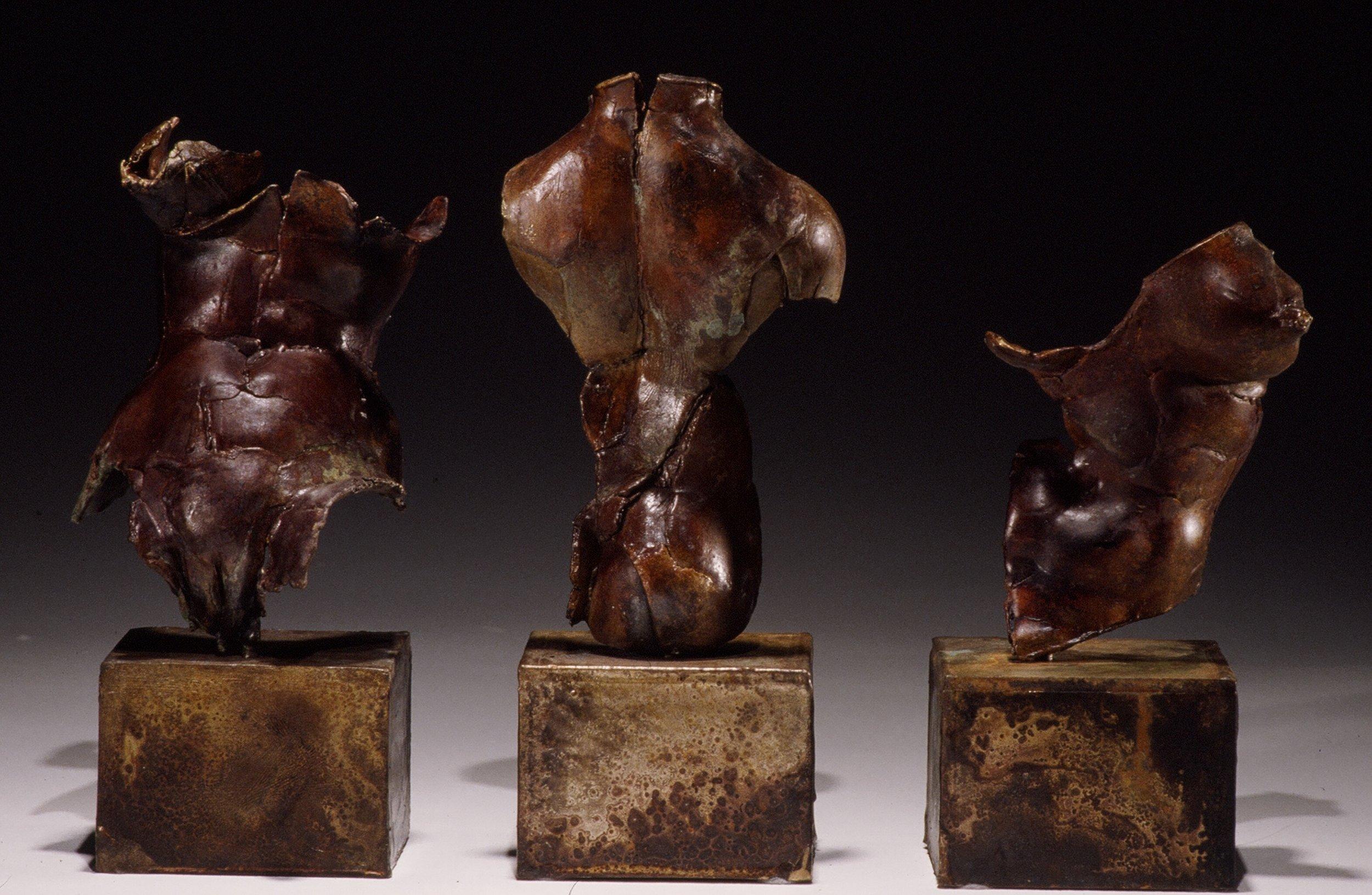 Three Vestiges -  10 X 5 X 4 (each) in cast bronze