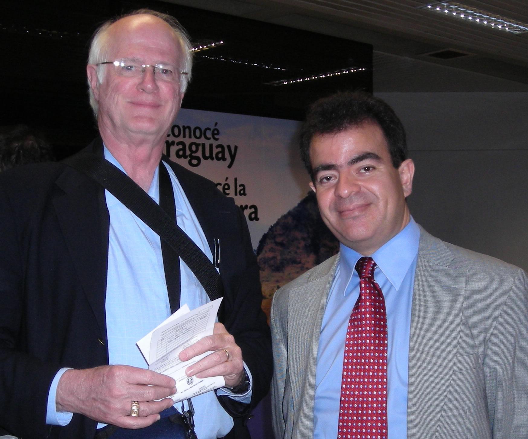 Mr.          Raymond White at customs greeted by Estanislao Lezcano, Paraguay consul