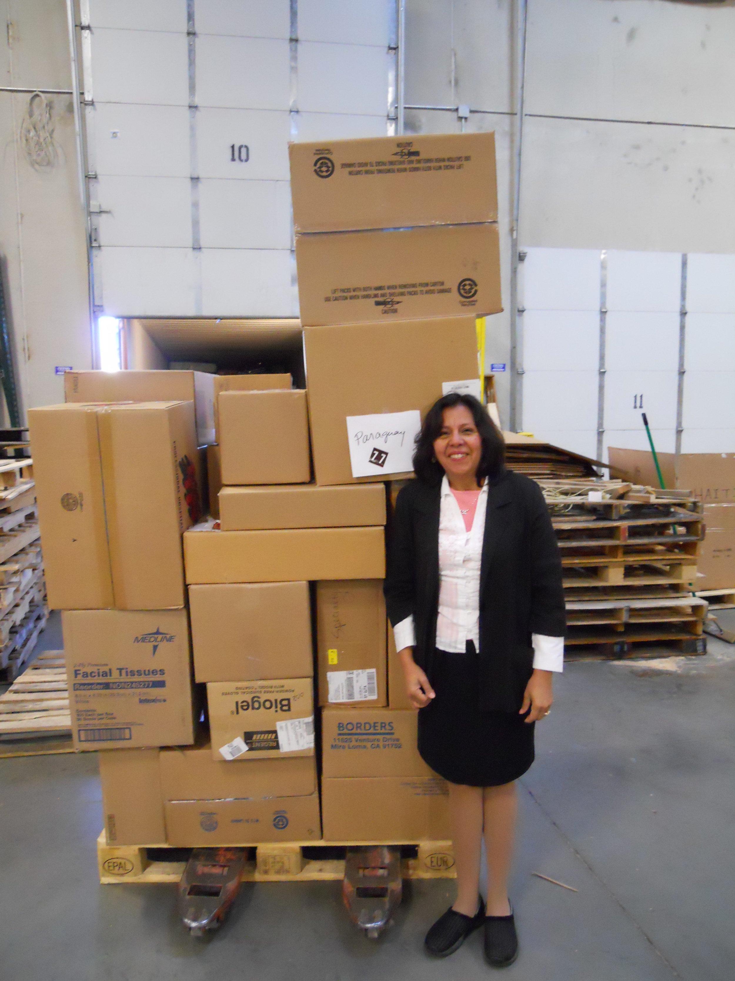 Felisa helps with loading supplies