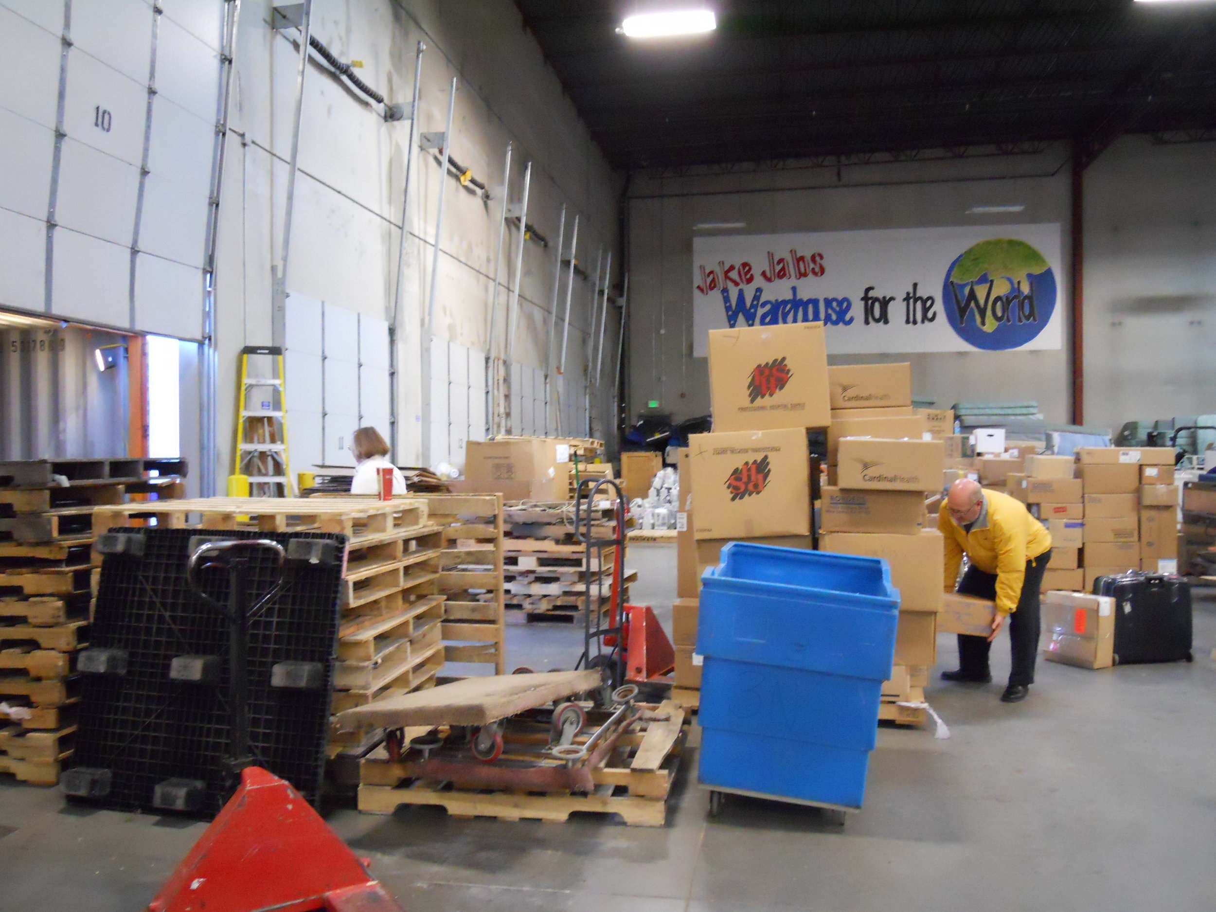 Gary De Kler loading boxes at Project C.U.R.E. warehouse