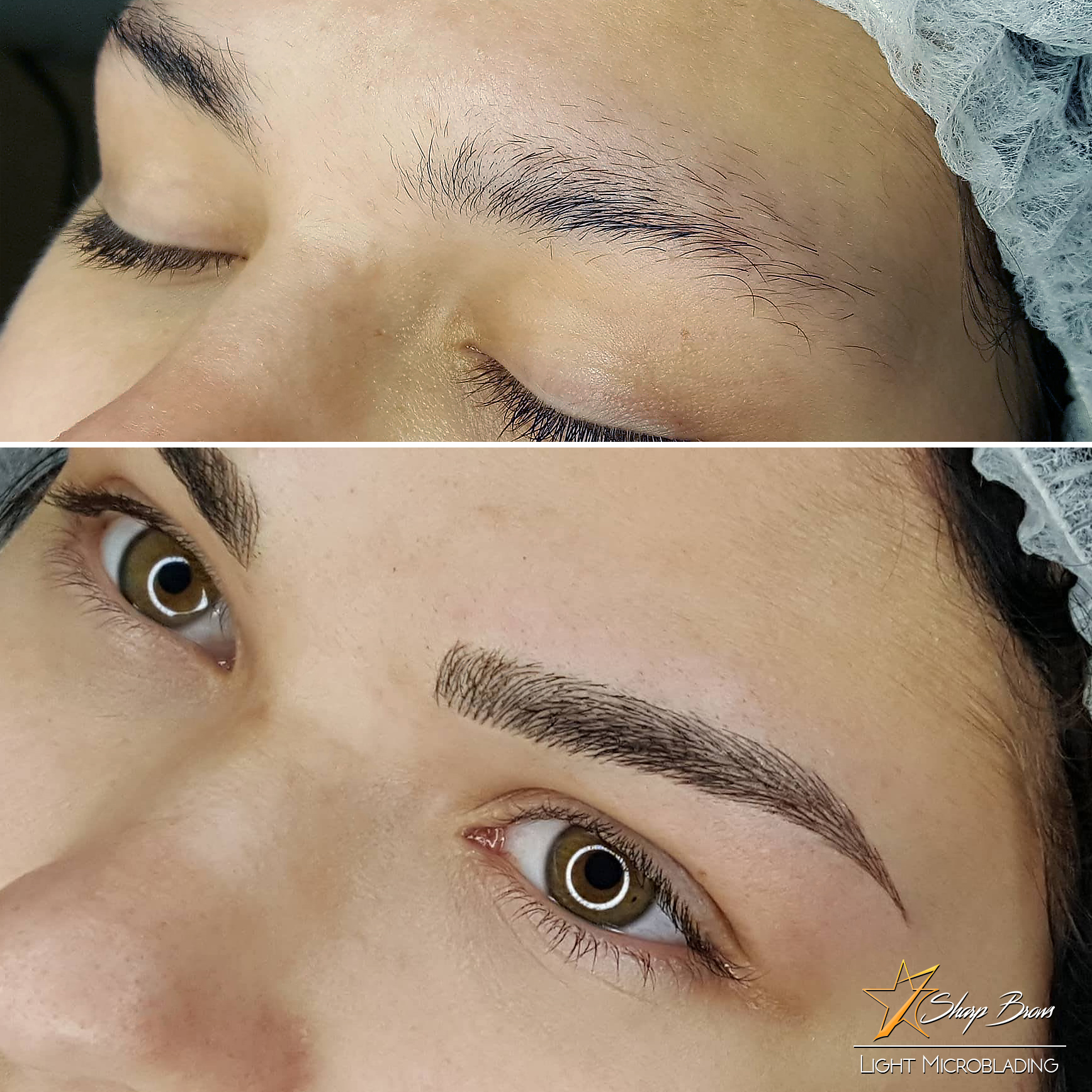 The change with Light Microblading and Precision Strokes are incredible! As a part of the treatment the excess brow hair is threaded and tweezed off. All lines are approximately 2,5 times thinner than with ordinary microblading.