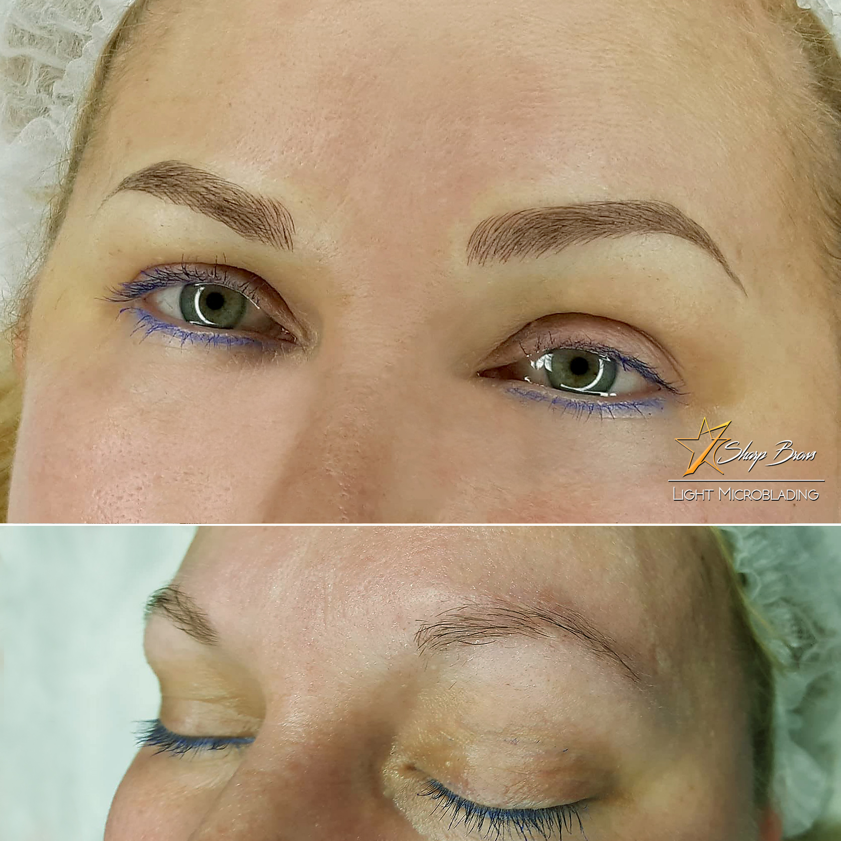 SharpBrows Light microblading. Here is a fine example of how correctly done microblading makes the client look considerably younger.