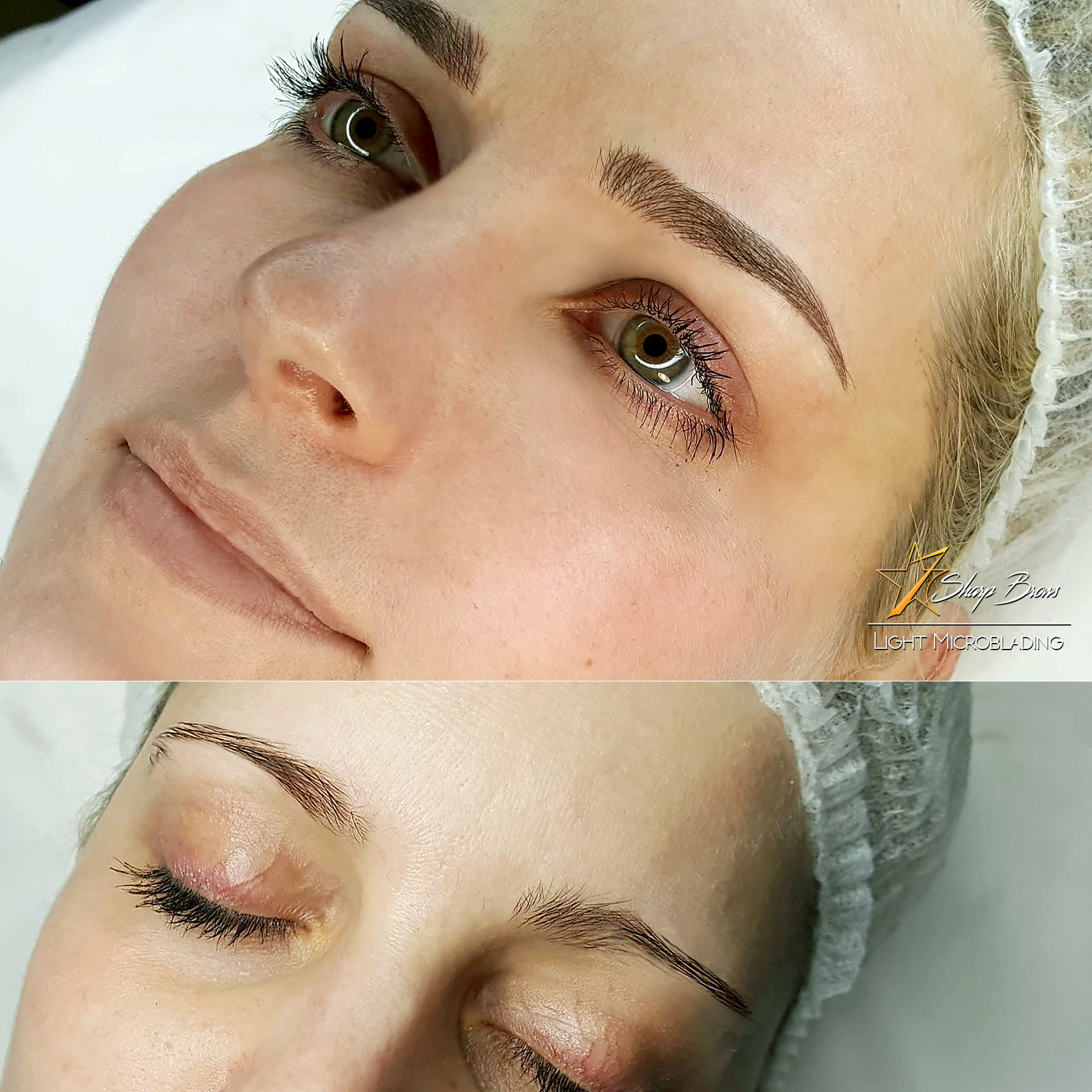 Here's a fine sample of how SharpBrows Light microblading can change the whole appearance of a human face. Brow shape is modified and filled in the correct way.