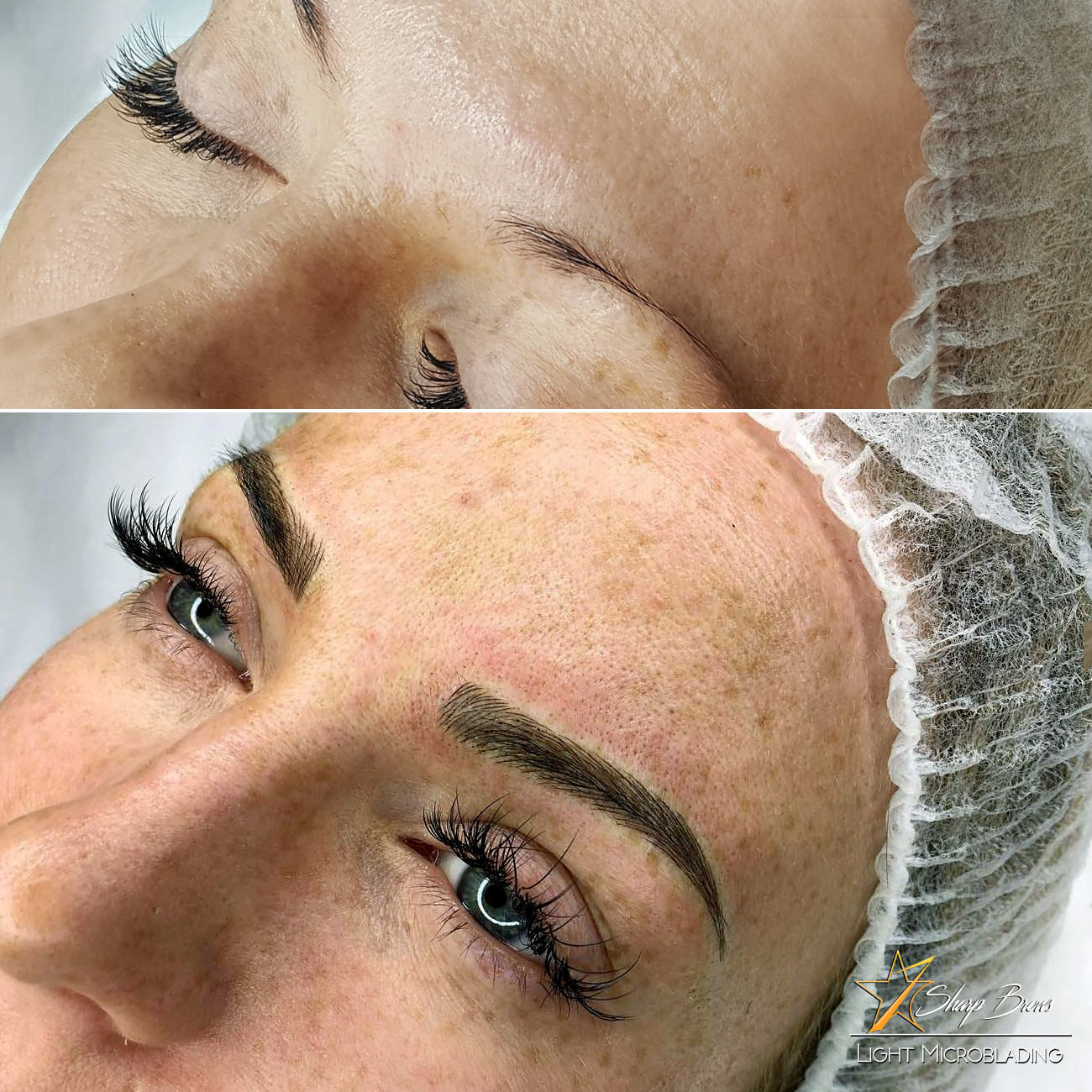 This after picture makes it very hard to believe that before the procedure the client had almost no brow hair in the beginning, back-section and the end of the brow. Also some shading was used.