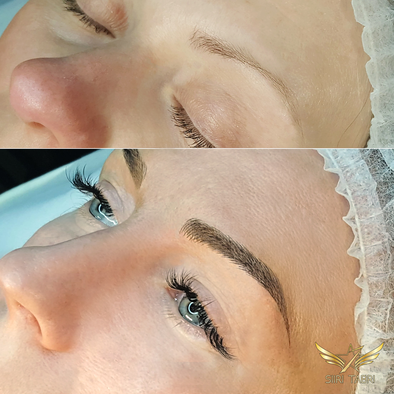 Light microblading. Here you can see how much the face truly changes after weak brows are turned into lush with SharpBrows light microblading.