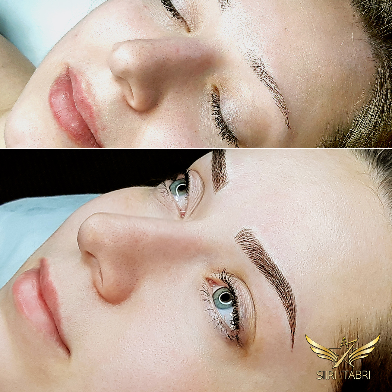 SharpBrows Light microblading. Amazing change from a small and weak brow to bold and lush.