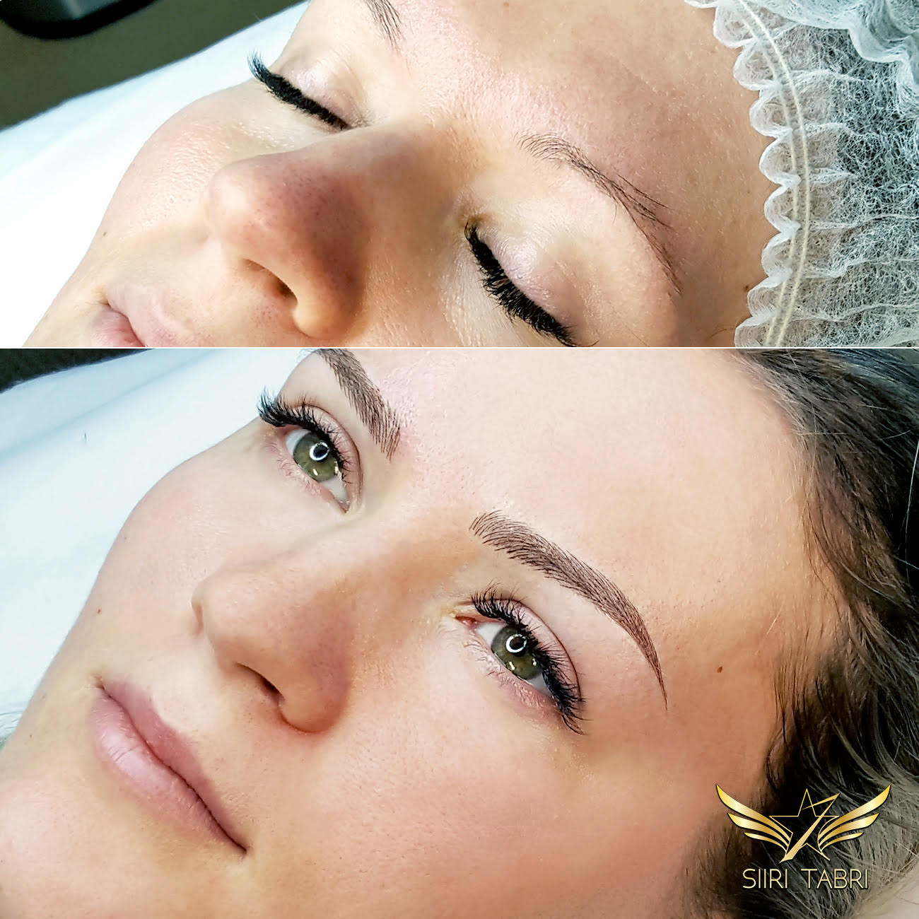SharpBrows Light microblading. This is an example how face becomes considerably more expressive and naturally beautiful with Light microblading.