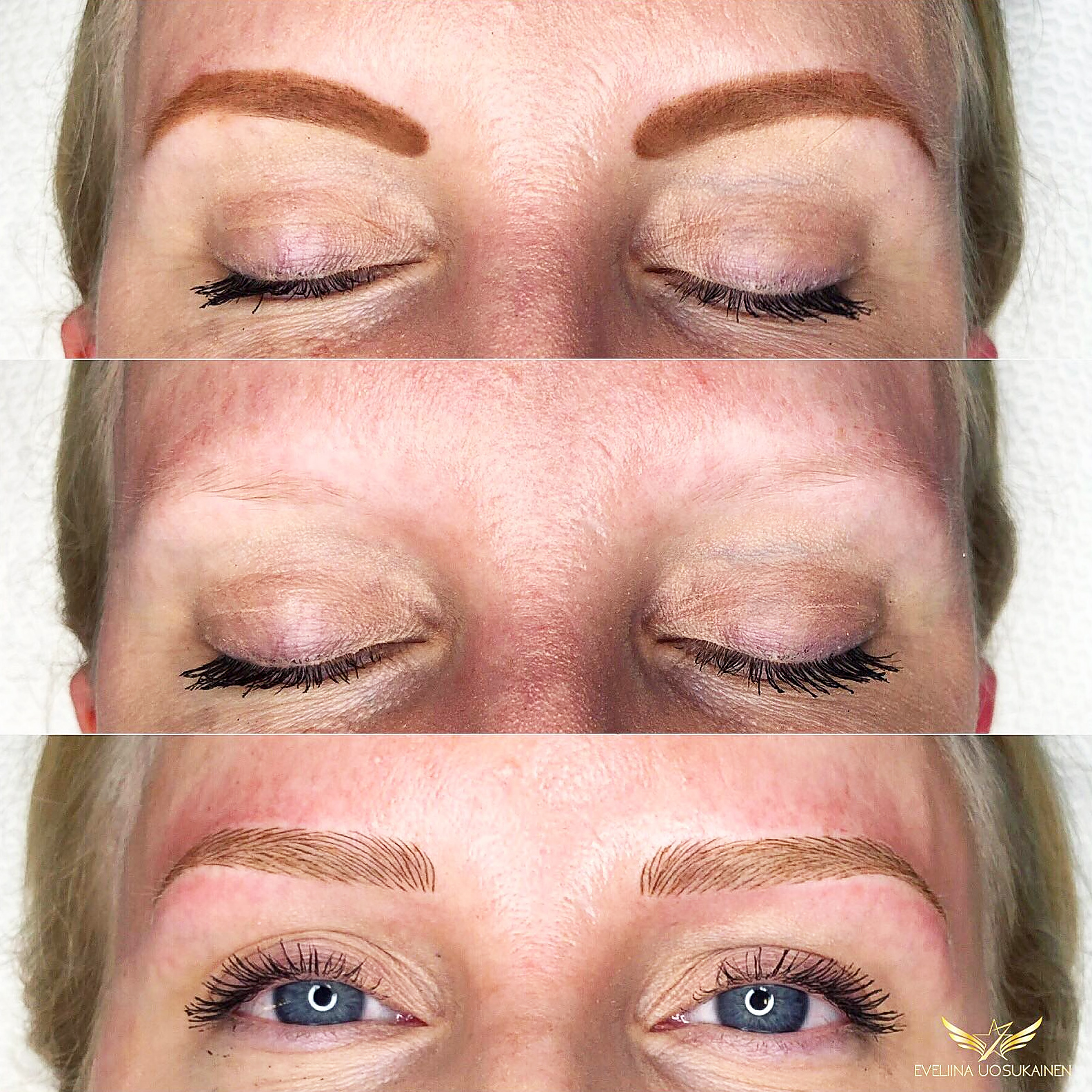 Students' work- A fine example how brows look like with makeup, without makeup and with light microblading. Made by a SharpBrows student after the class.