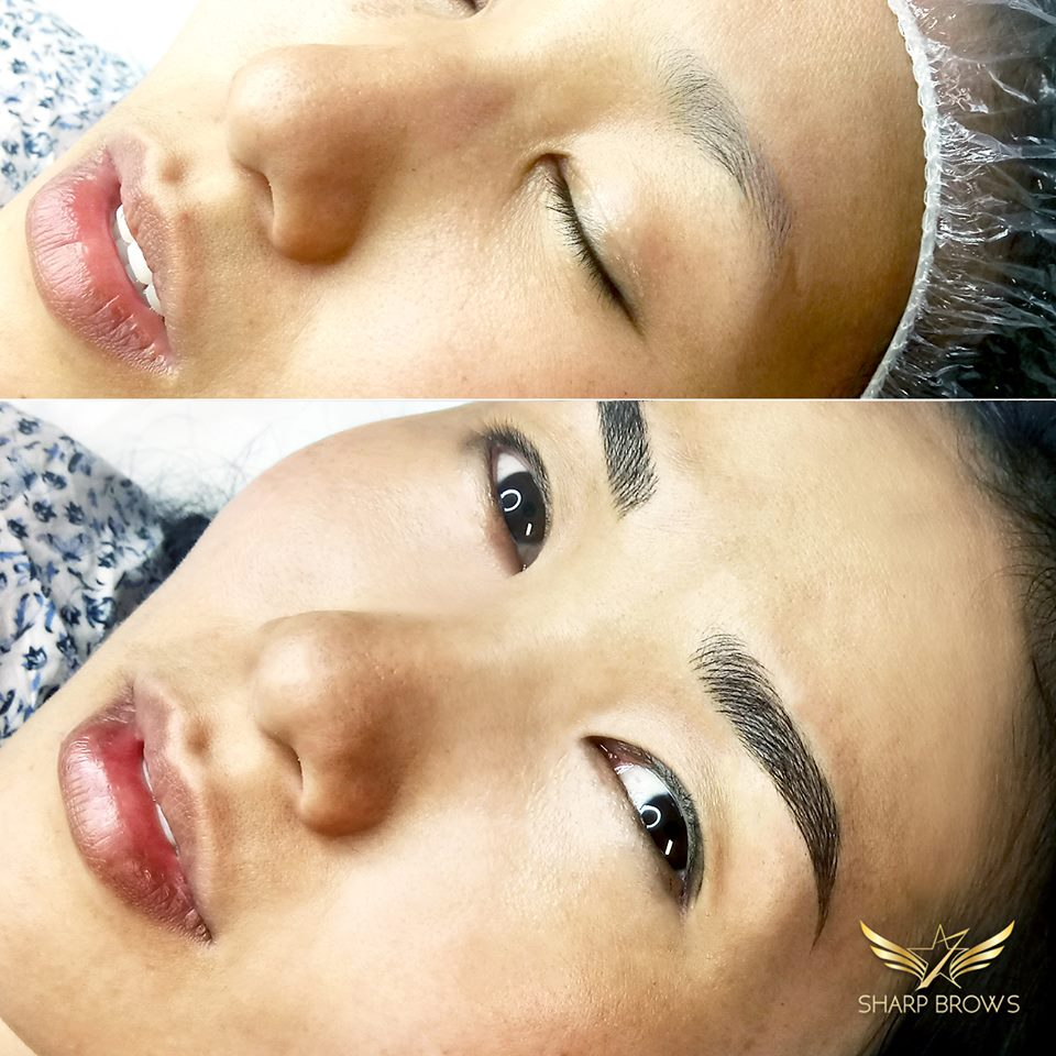 SharpBrows Light microblading - Magnificent change with Light microblading. The before-brow was practically non-existent. After brow is fabulous.