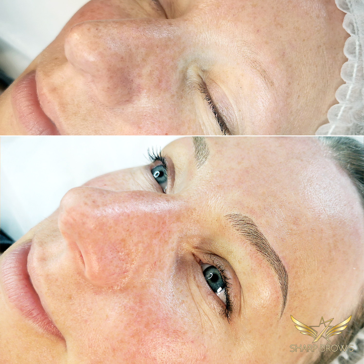 From total zero to light microblading brow. Incredible change that had to be started from a very weak situation.