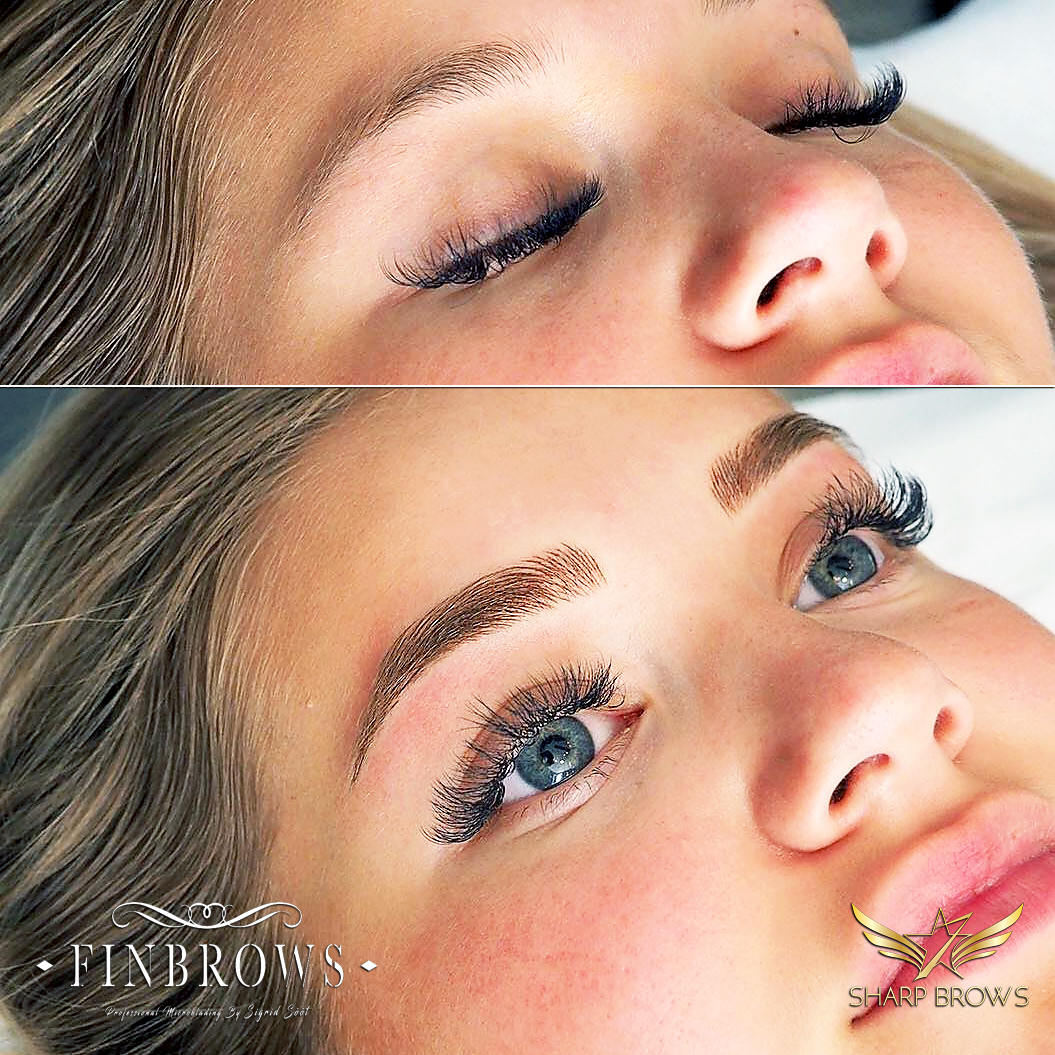 A nice example of Light microblading done correctly.