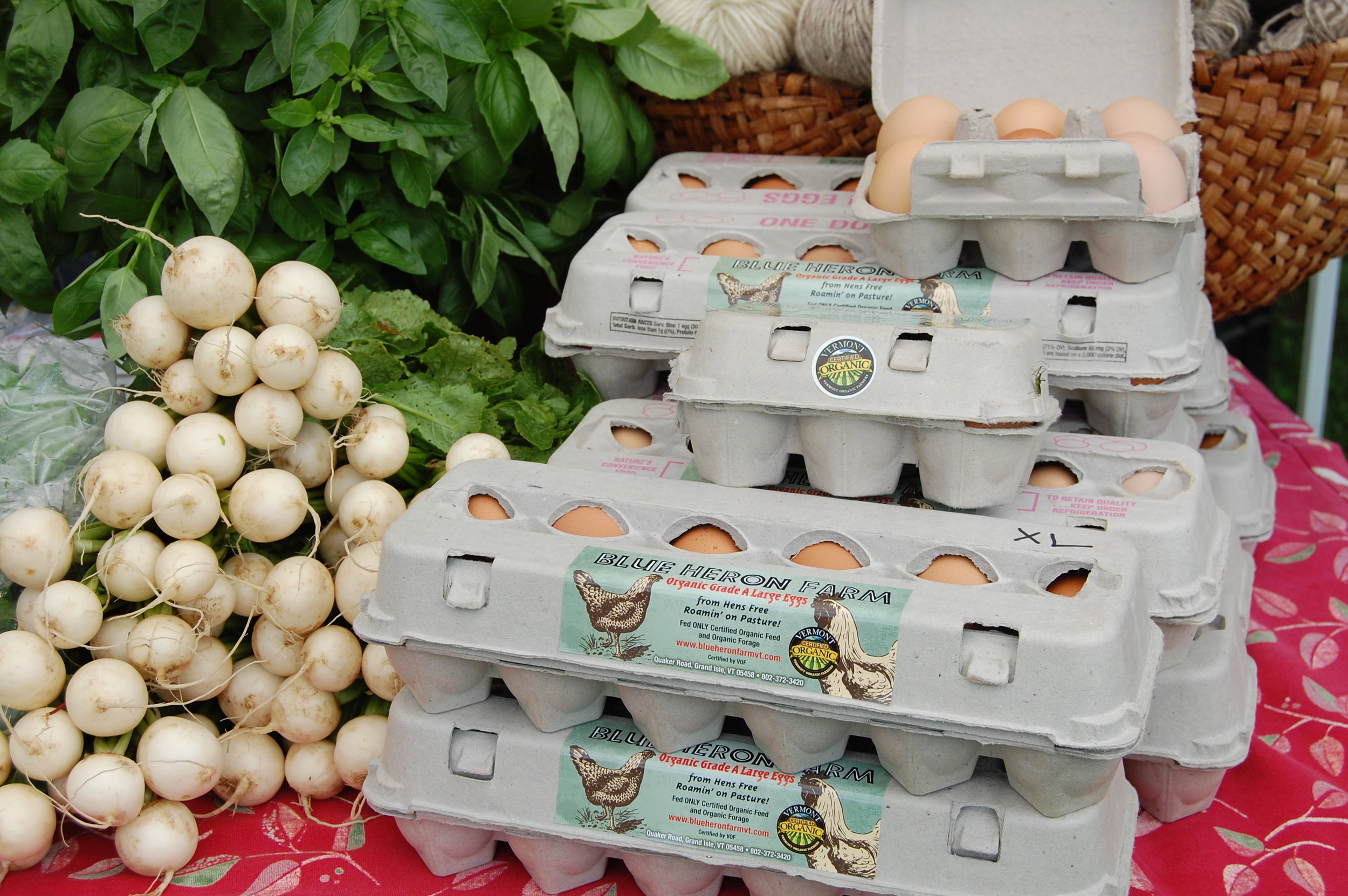 Eggs and sweet salad turnips from Blue Heron Farm